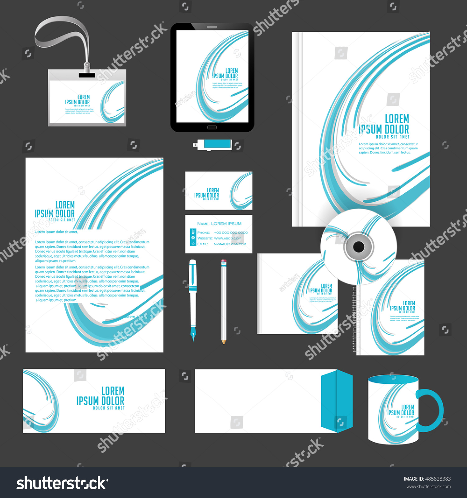 Creative Vector Templates Office Stationery Nice Stock Vector ...