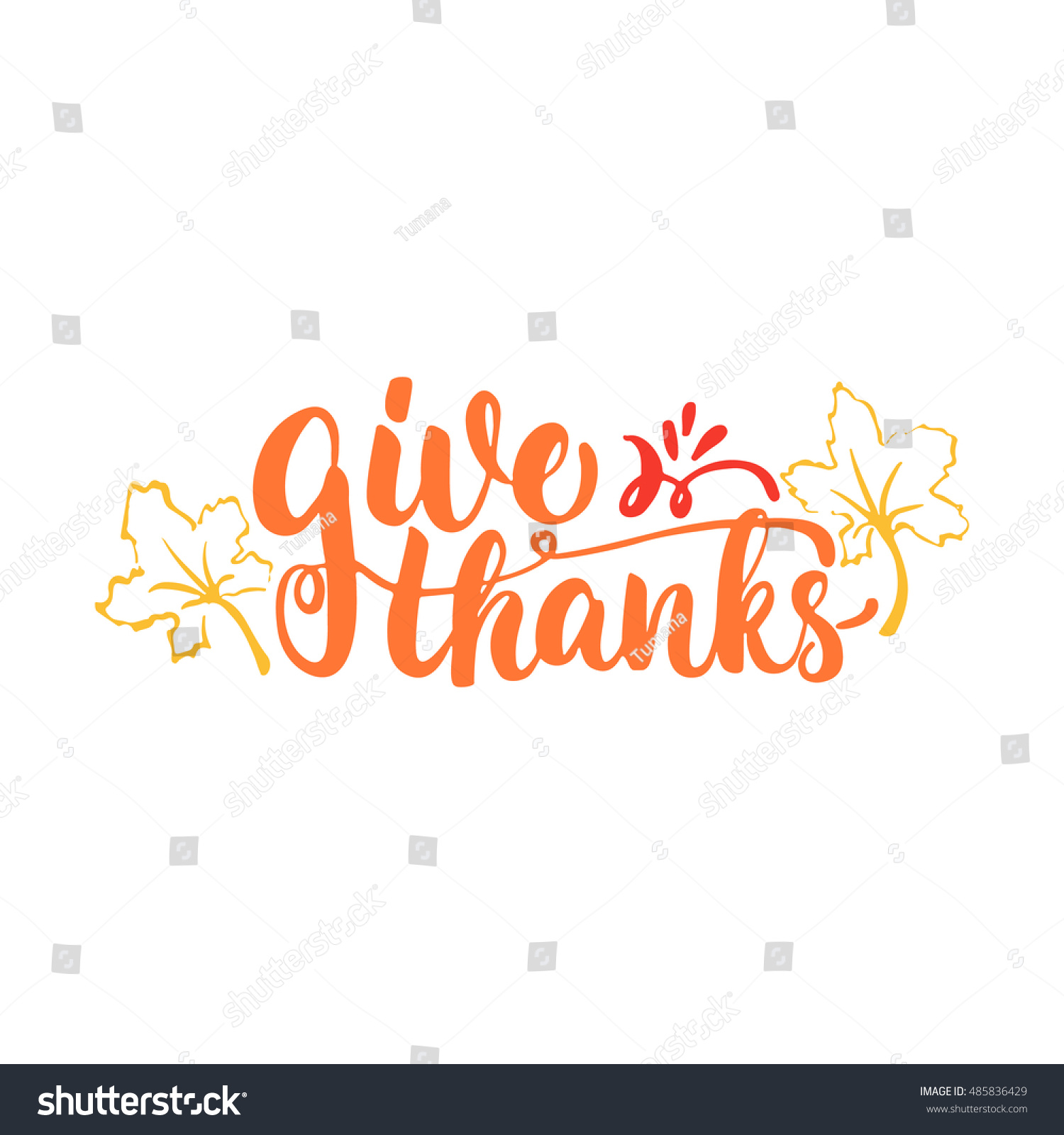 Give Thanks Happy Thanksgiving Lettering Calligraphy Stock Vector