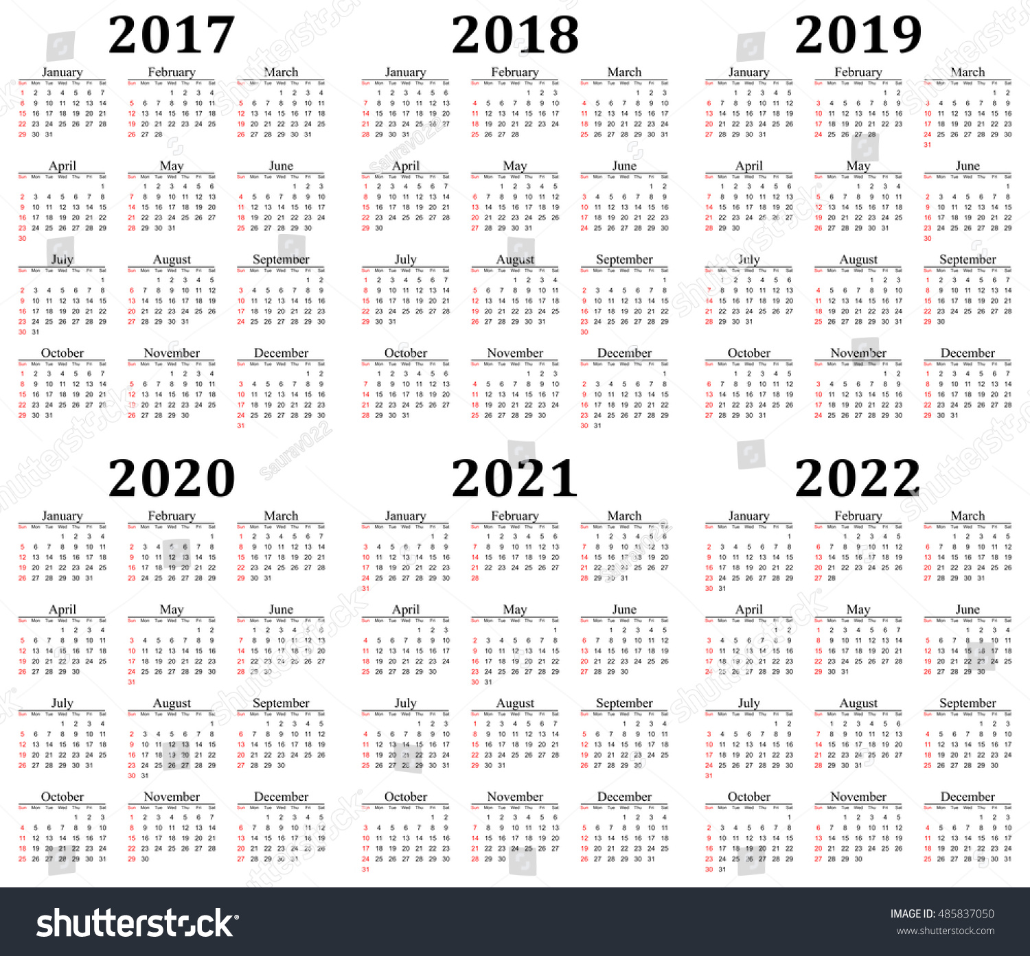 six year calendar 2017 2018 2019 2020 2021 and 2022 in
