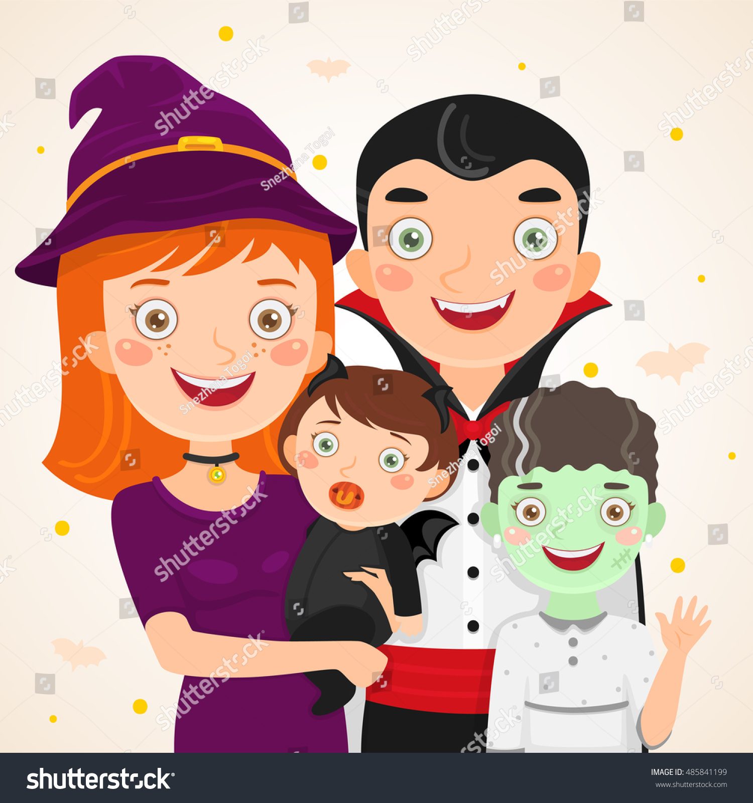 Happy Halloween Family Costume Party Father Stock Vector 485841199 ...