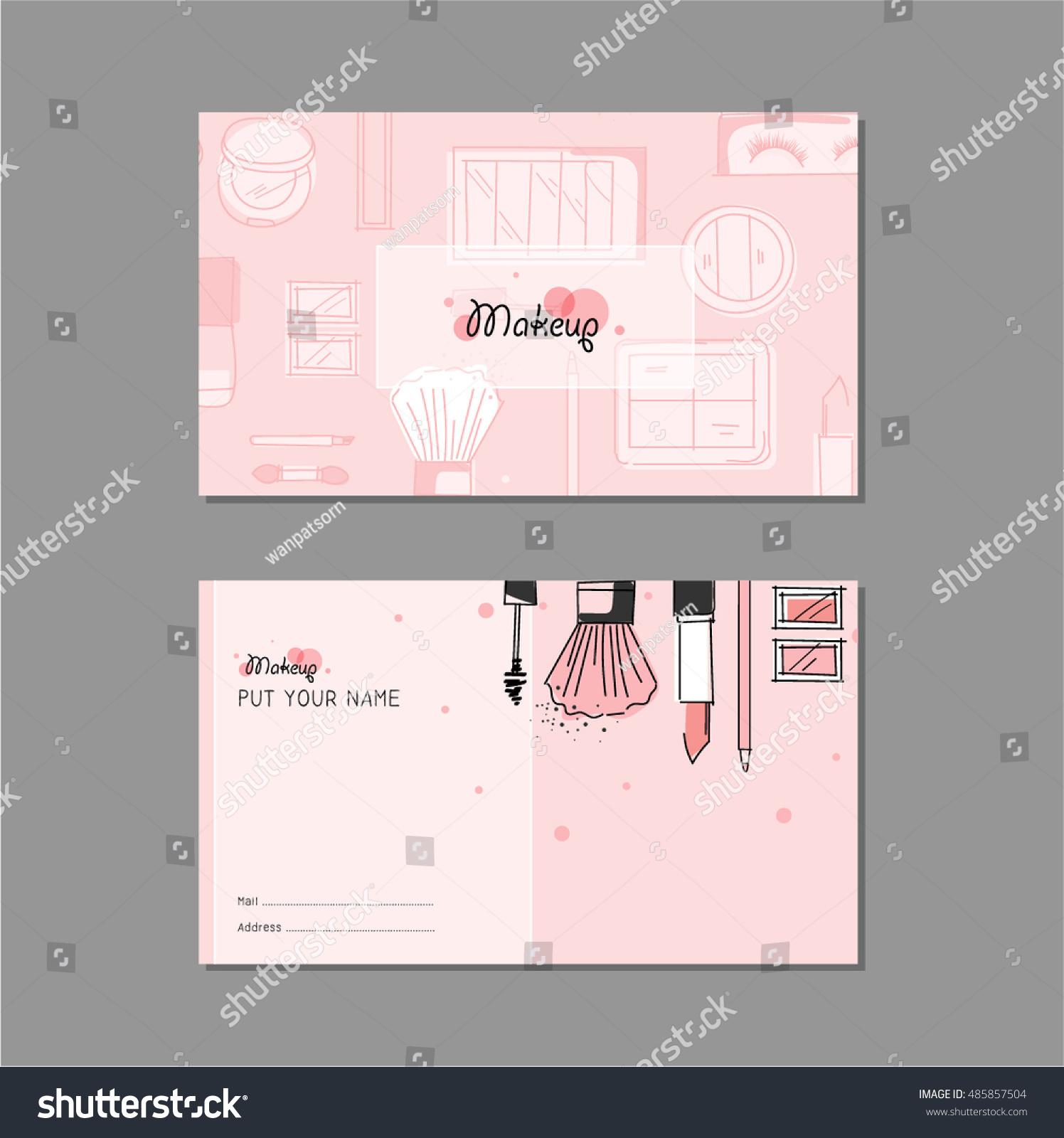 Makeup Artist Business Card Vector Template Stock Vector 485857504 ...