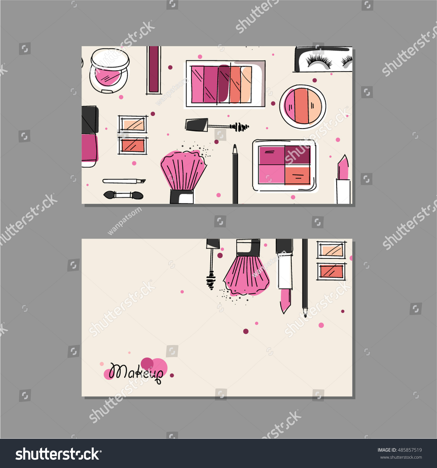Makeup Artist Business Card Vector Template Stock Vector 485857519 ...