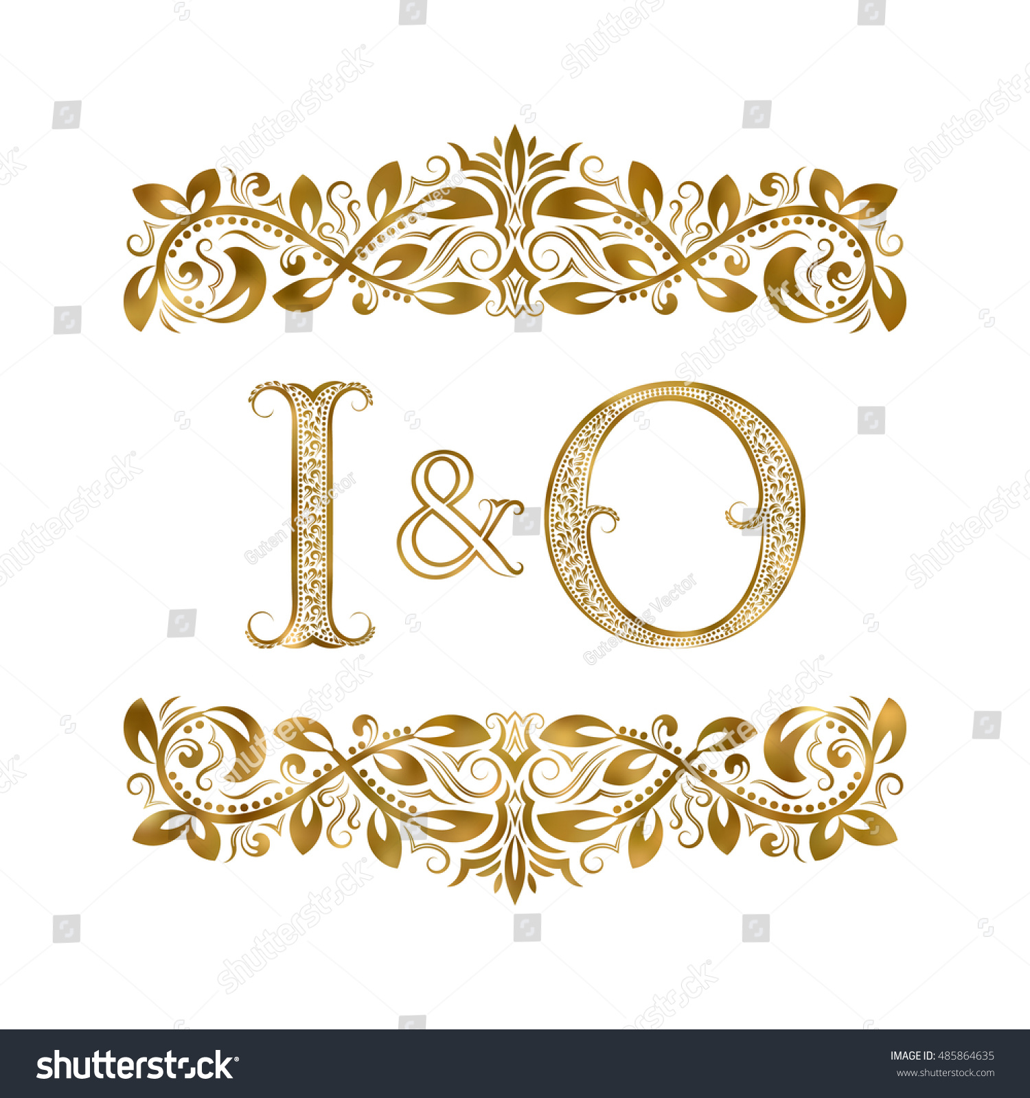 O vintage initials logo symbol letters stock vector 485864635 i and o vintage initials logo symbol the letters are surrounded by ornamental elements buycottarizona