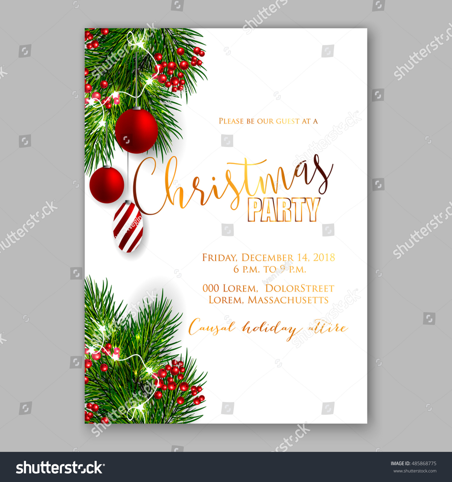 Christmas Party Invitation Template Background Fir Stock Vector ...