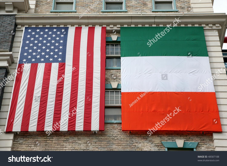 american irish flags hanging on old stock photo 48587188