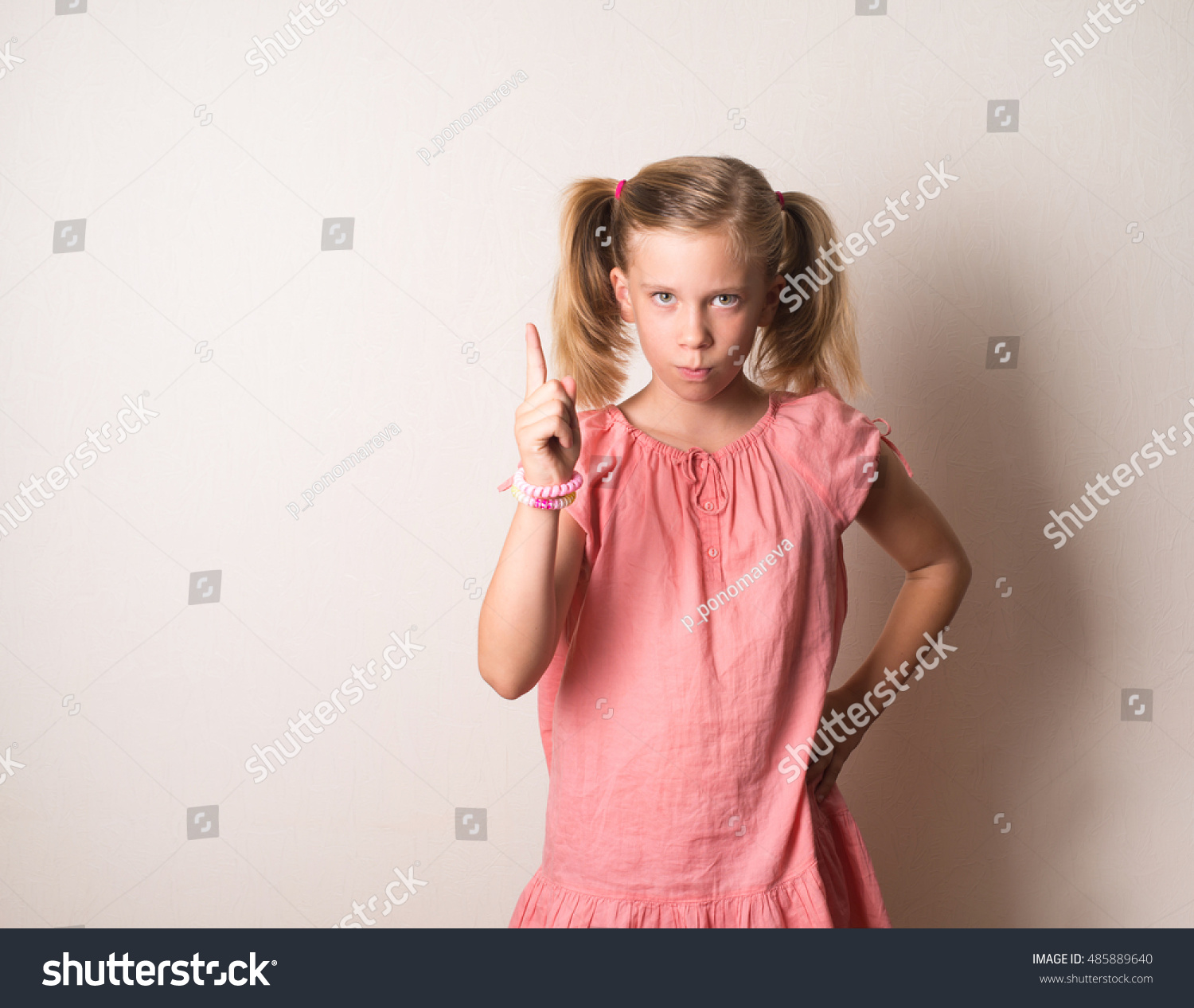 Portrait Serious Frowning Angry Grumpy Girl Stock Photo ...