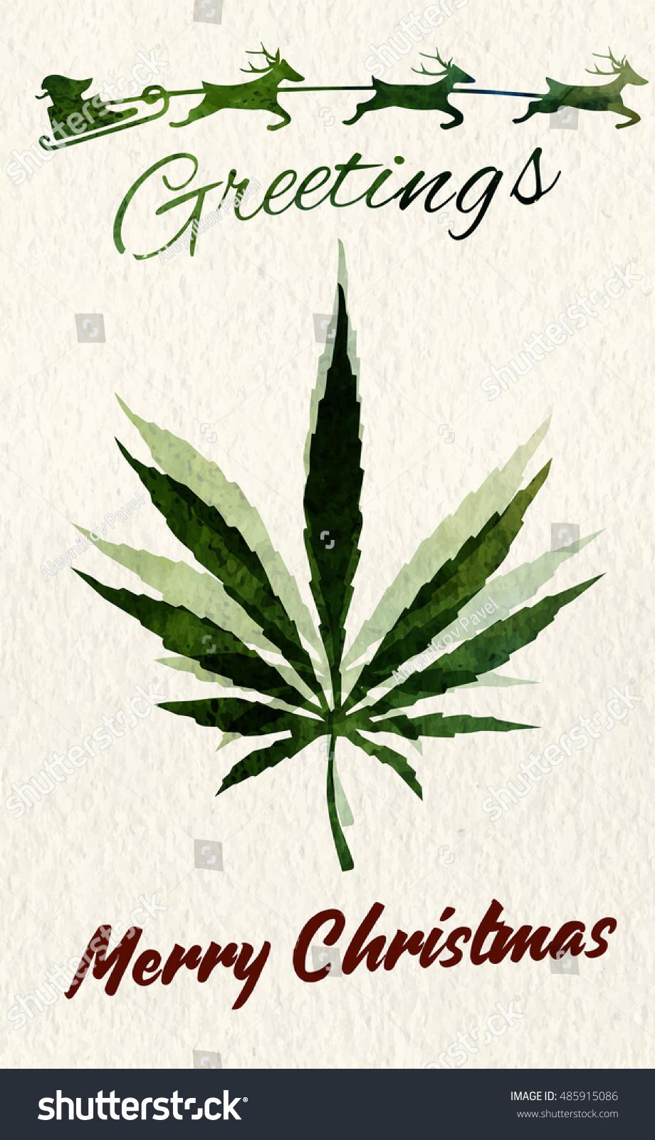 Christmas Greeting Card Marijuana Leaf Santa Stock Vector Hd