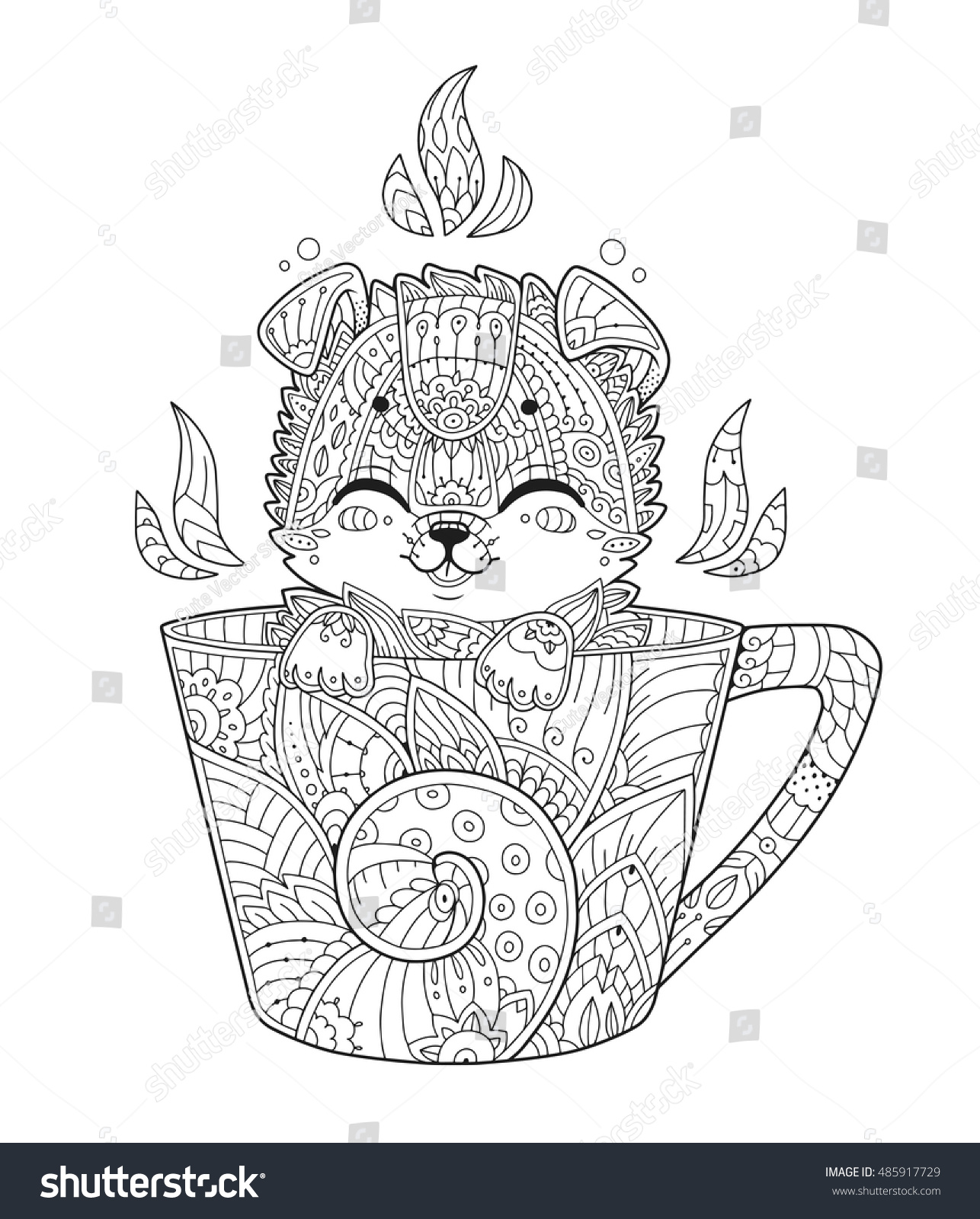 puppy cup antistress coloring page stock vector 485917729