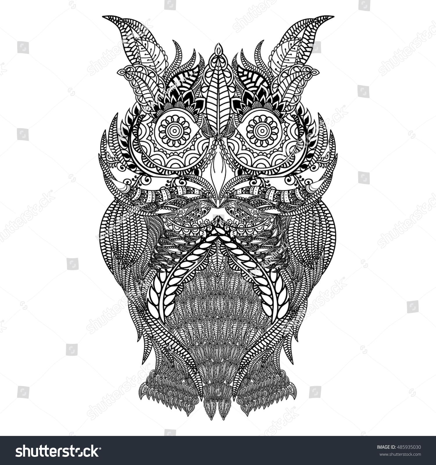 Hand Drawn Black White Illustration Owl Stock Vector 485935030