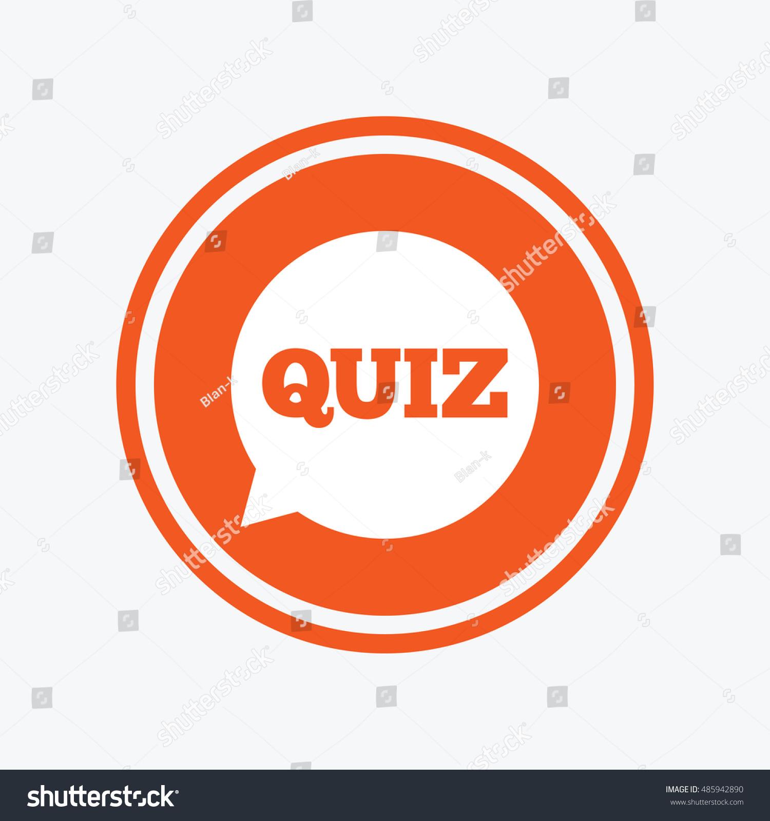 Quiz Speech Bubble Sign Icon Questions Stock Vector 485942890