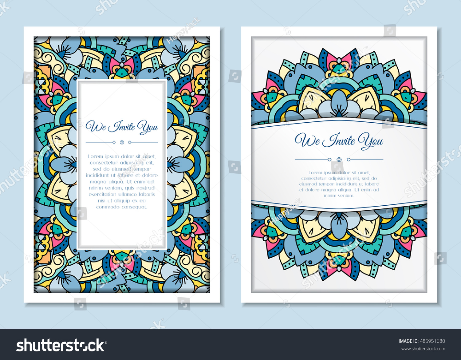 Cute Vintage Doodle Cards Set Invitation Stock Vector Royalty Free
