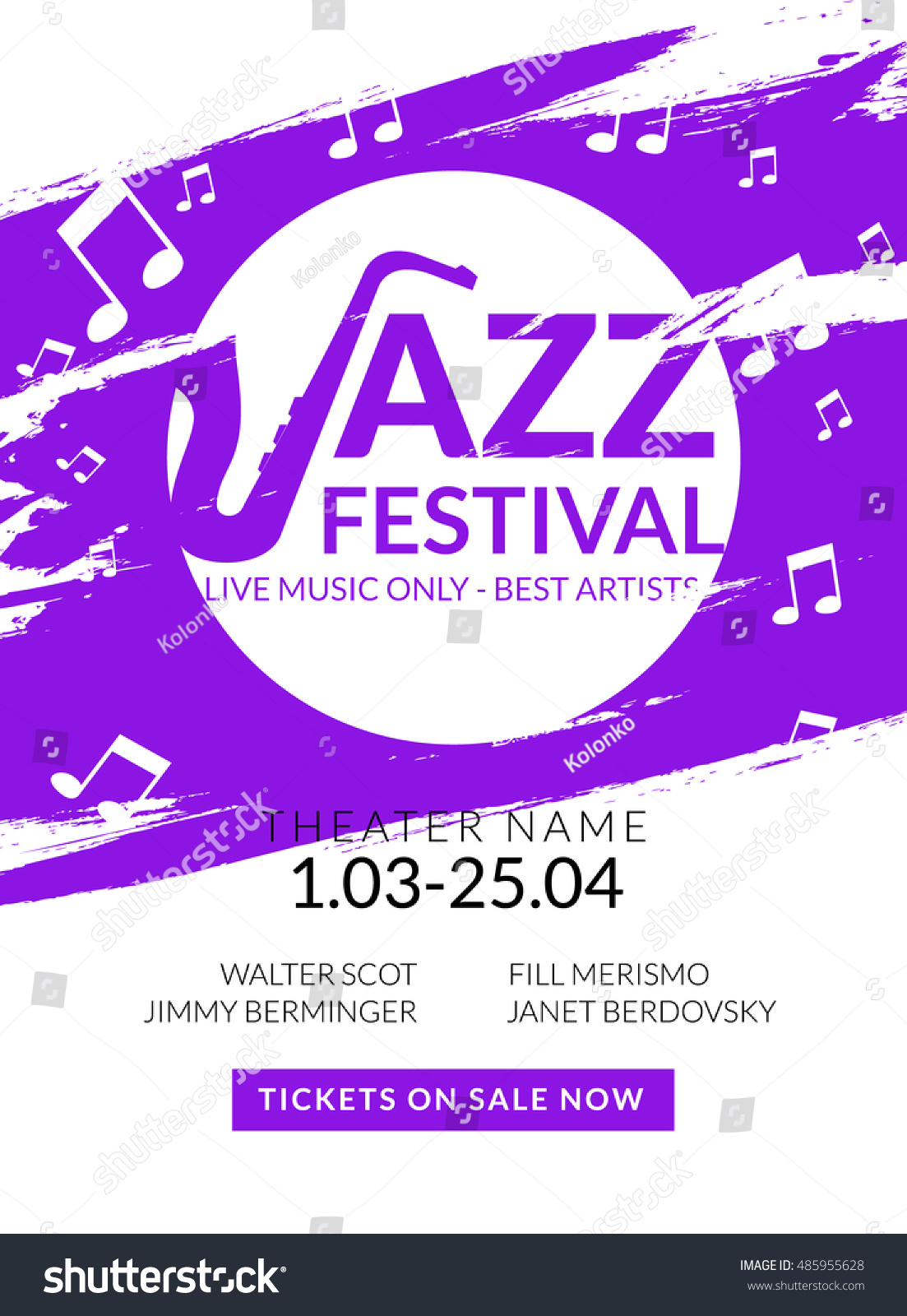 Vector Musical Flyer Jazz Festival Music Vector de stock485955628 ...