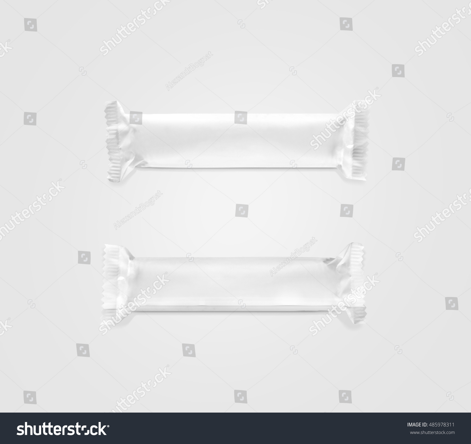 blank white candy bar plastic wrap mockup top and back side 3d isolated