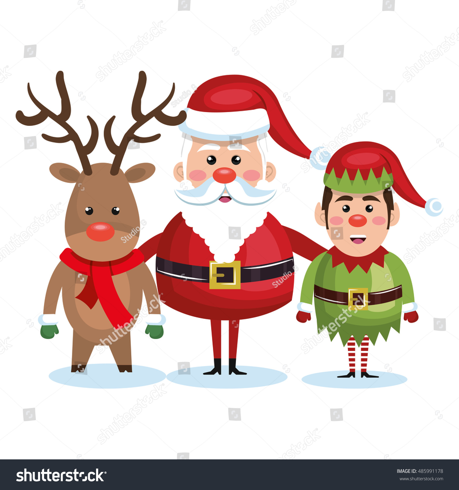 santa claus reindeer and elf christmas stock vector