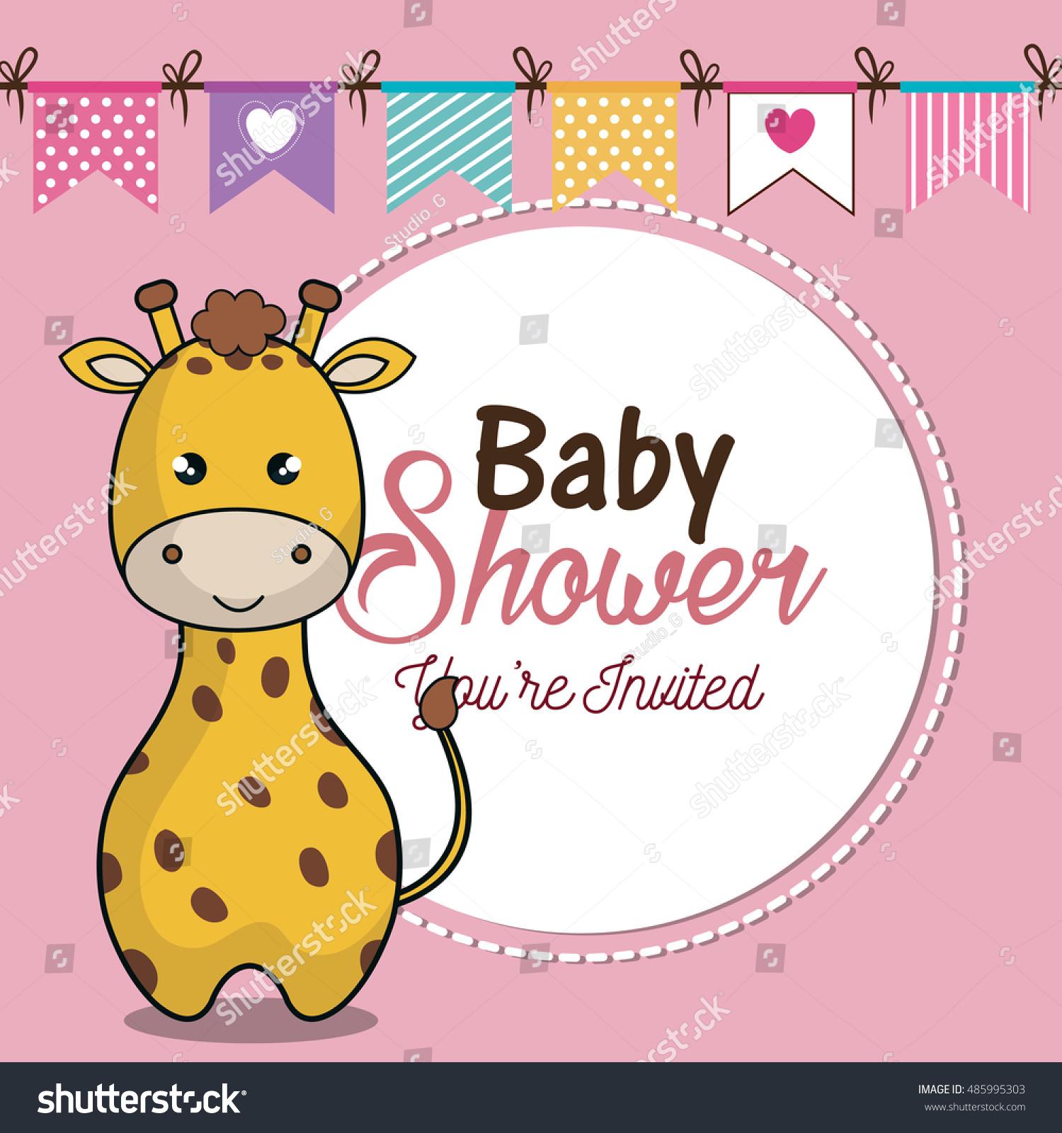 Invitation Baby Shower Card Giraffe Desing Stock Vector