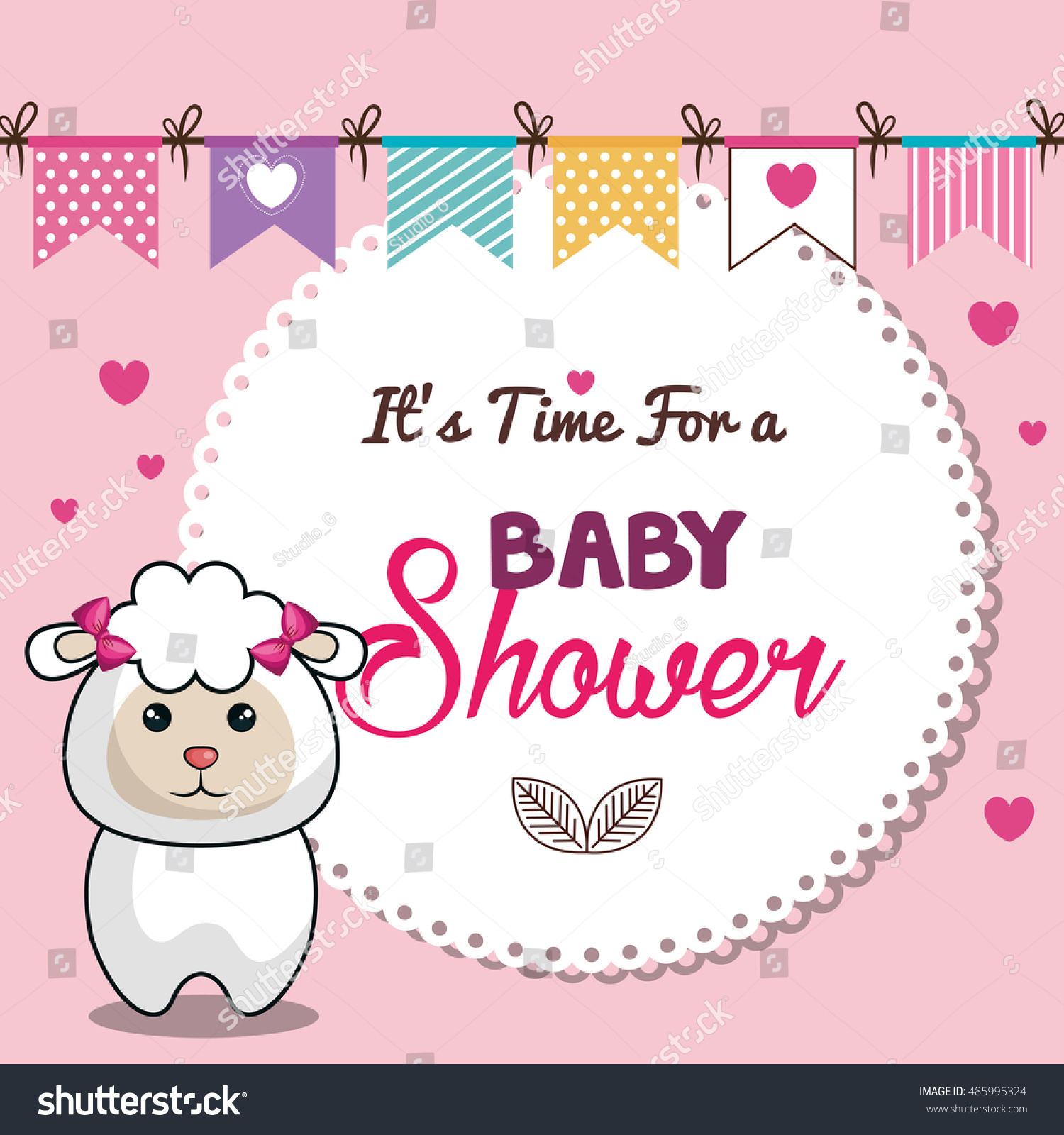 Invitation Baby Shower Card Pink Sheep Stock Vector