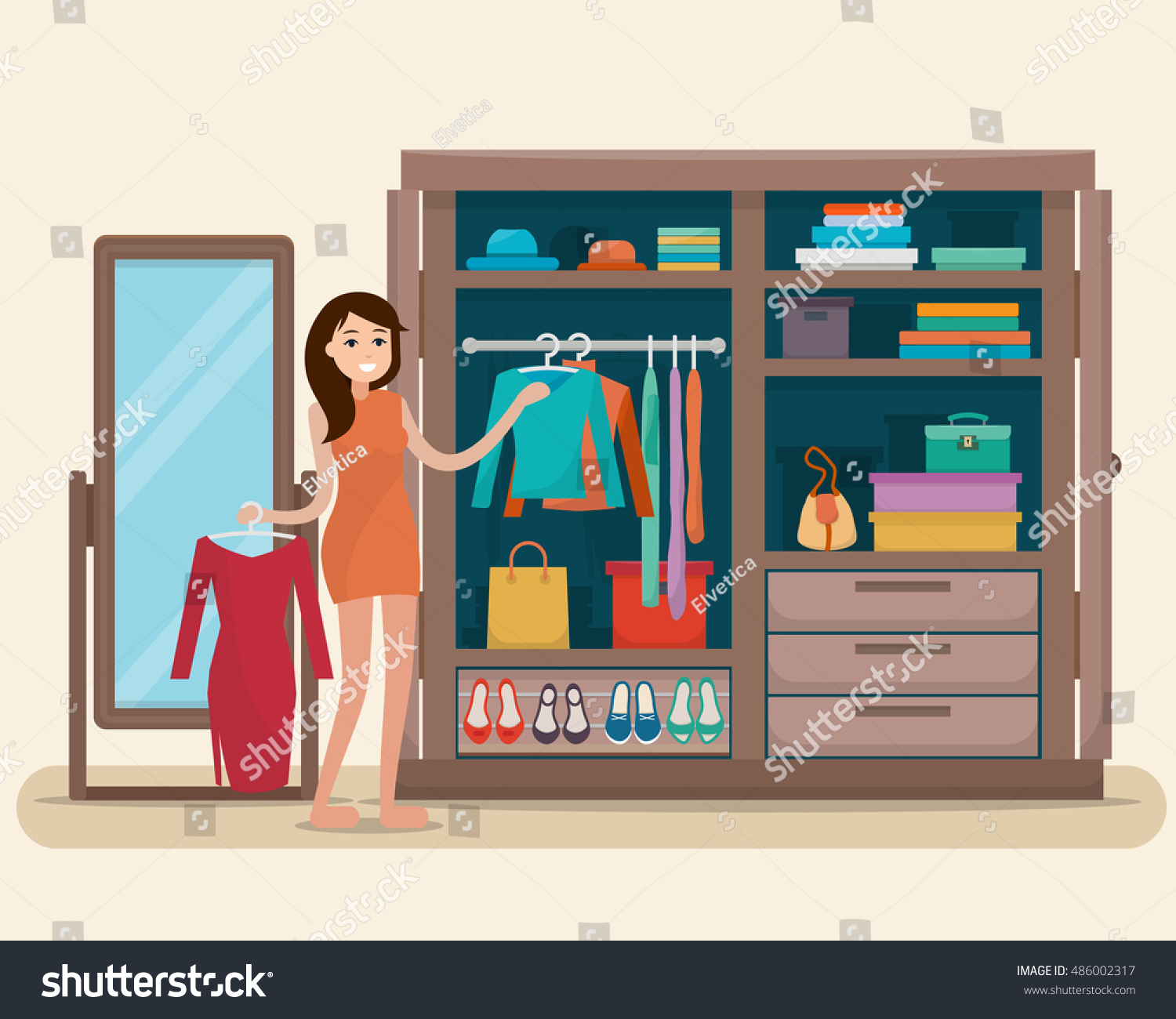 Woman Near Wardrobe Cloths Mirror Girl Stock Vector