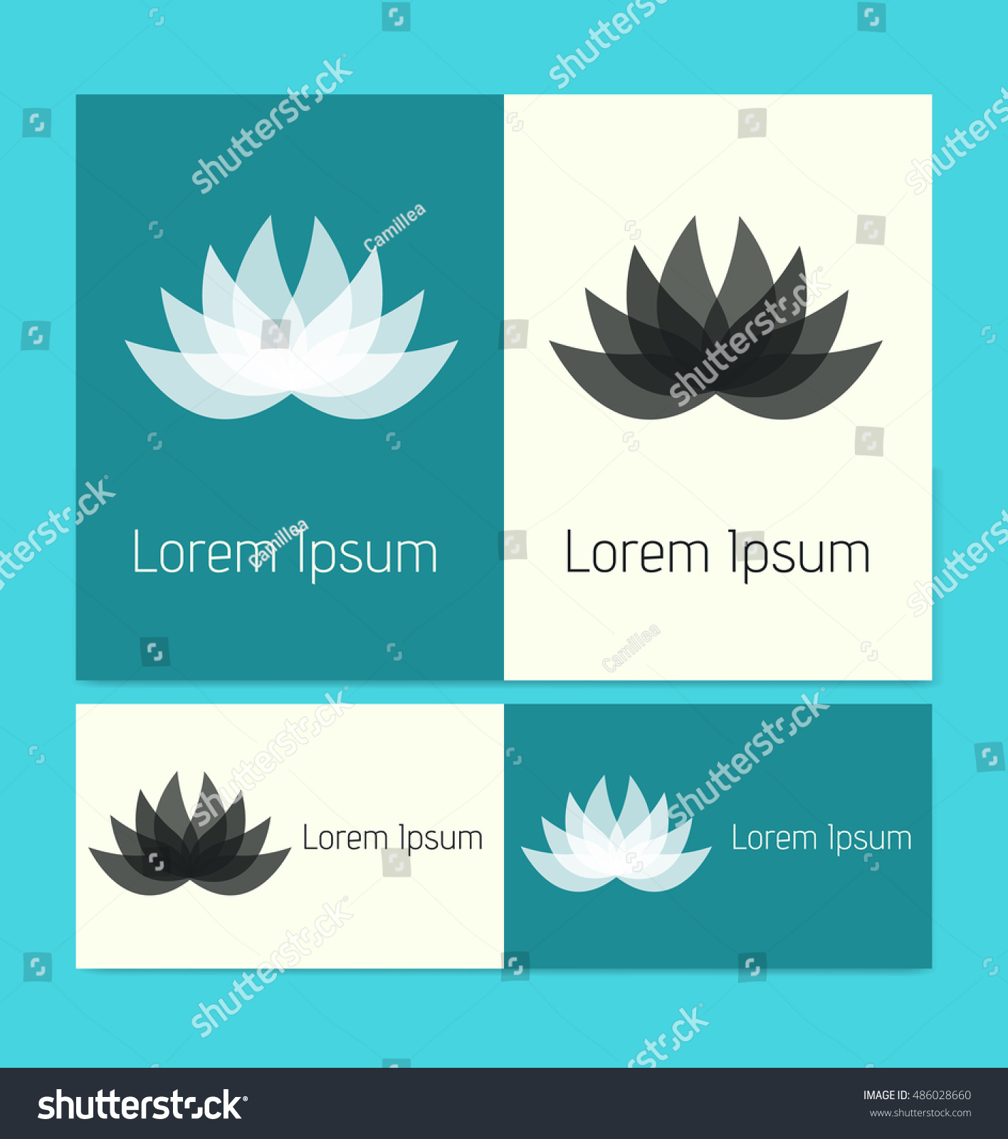Vector lotus flower business cards stock vector 486028660 shutterstock vector lotus flower business cards colourmoves