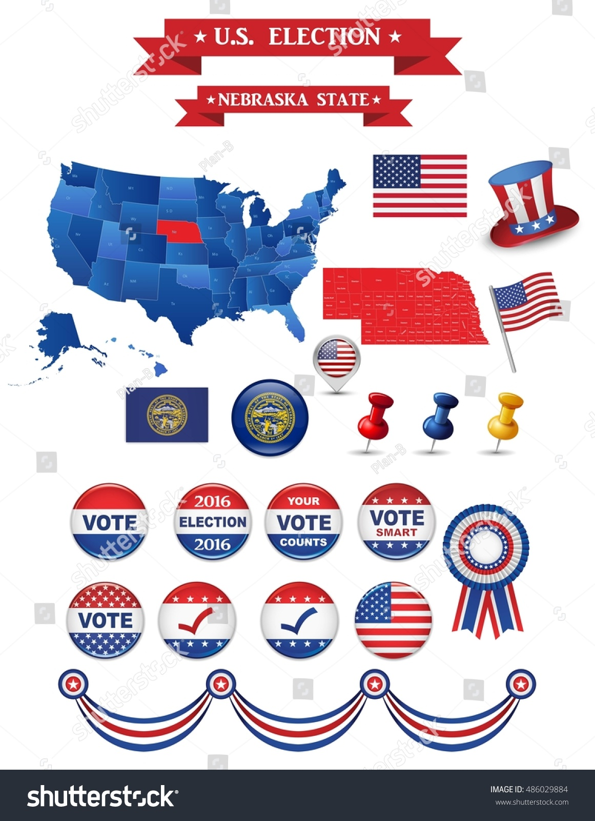 Us Presidential Election Nebraska State Including High Stock - Us map nebraska state
