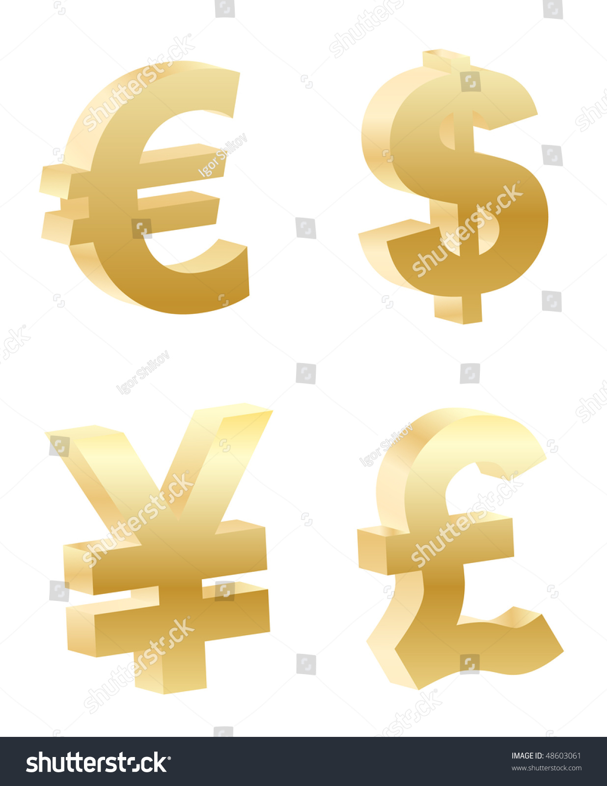 Curved Golden Money Symbols Rendered With Soft Shadows On White
