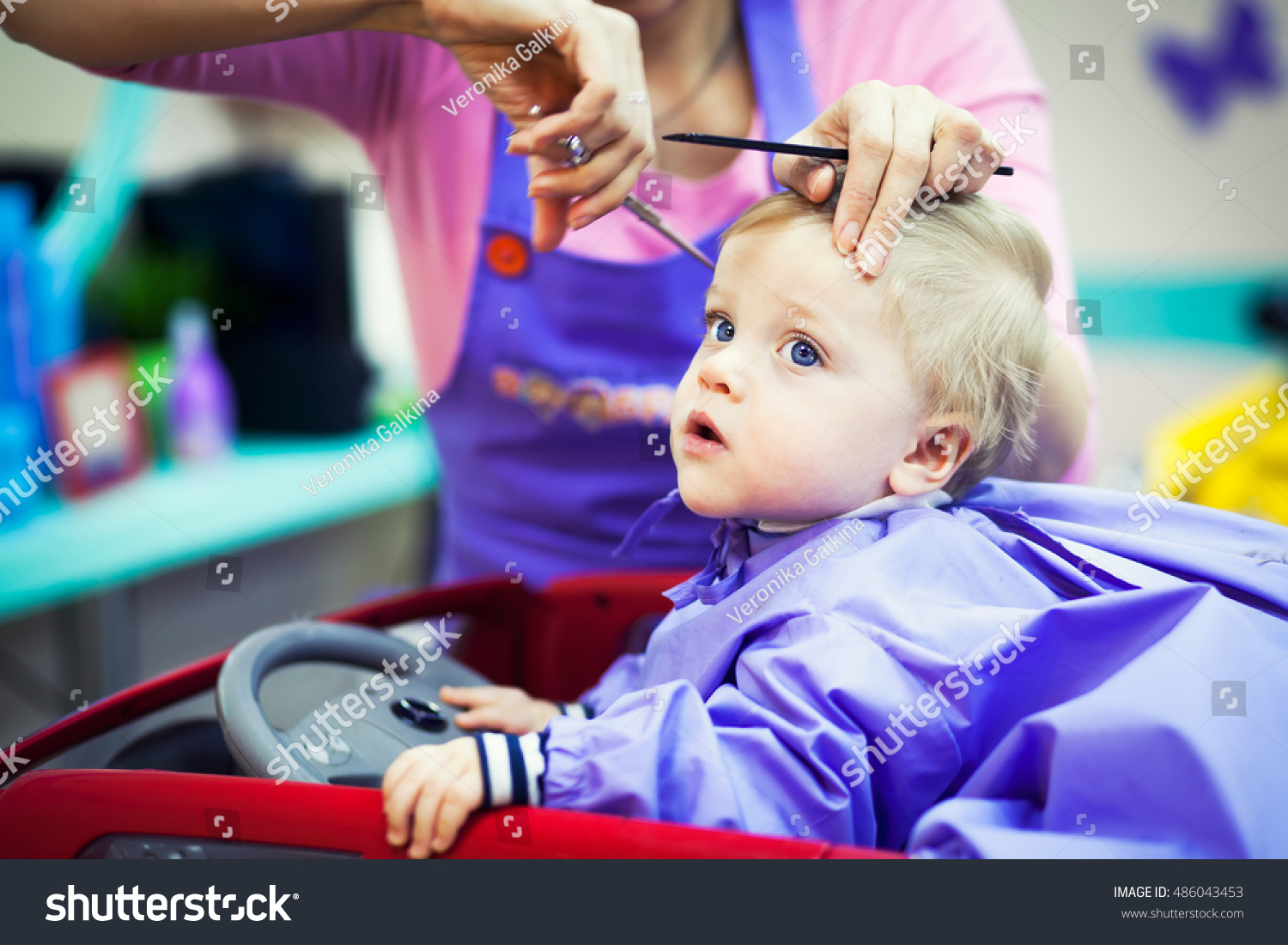 First Haircut Little Baby Boy Stock Photo Royalty Free 486043453