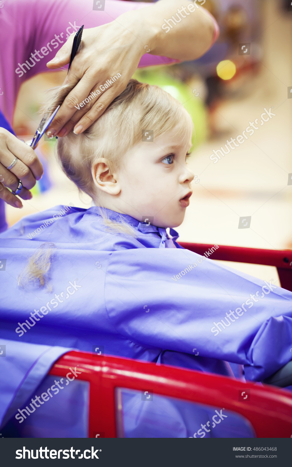 First Haircut Little Baby Boy Stock Photo Edit Now 486043468