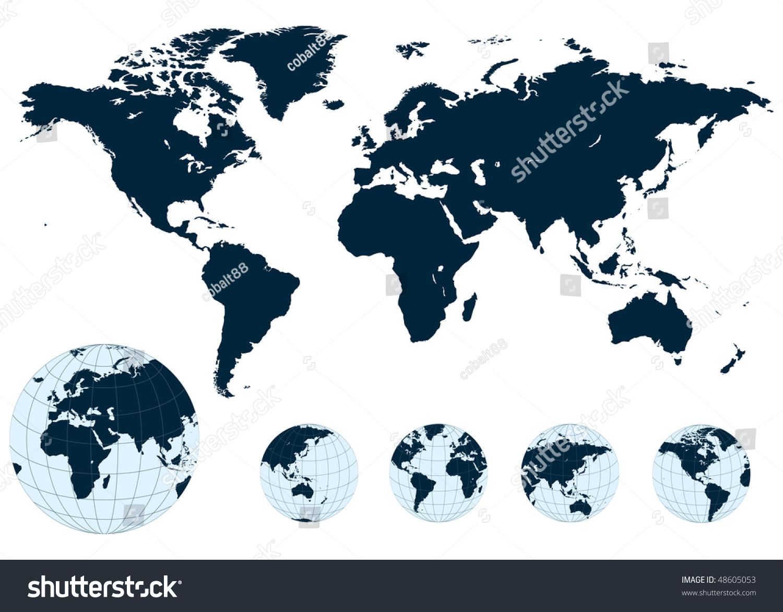 Map World Earth Globe Vector Vector 48605053 Shutterstock – Erth Map
