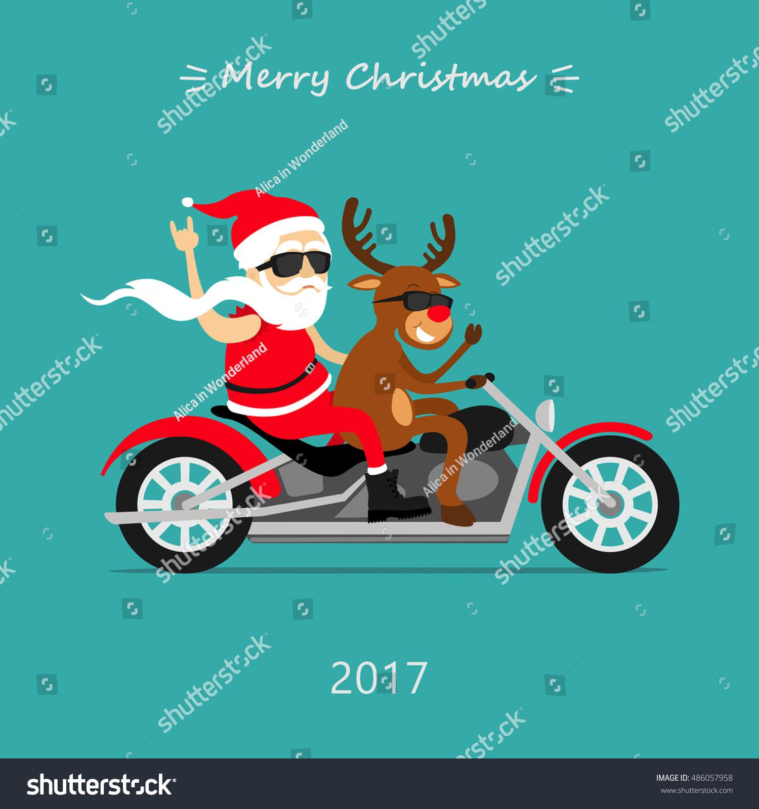 Merry Christmas Santa Claus Deer Ride Stock Vector (Royalty Free ...