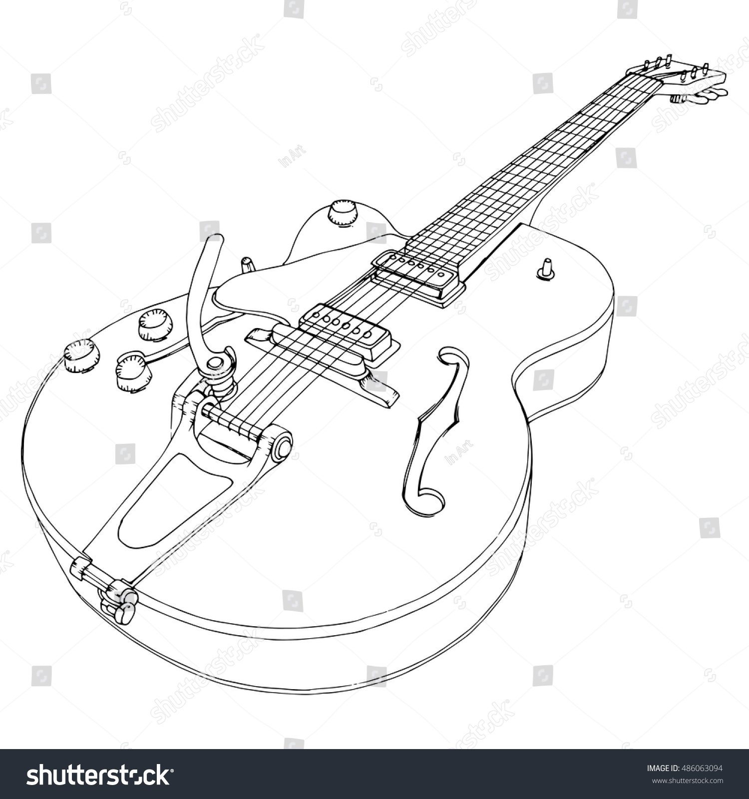 Line Drawing Music : Stylized guitar retro jazz electric stock vector