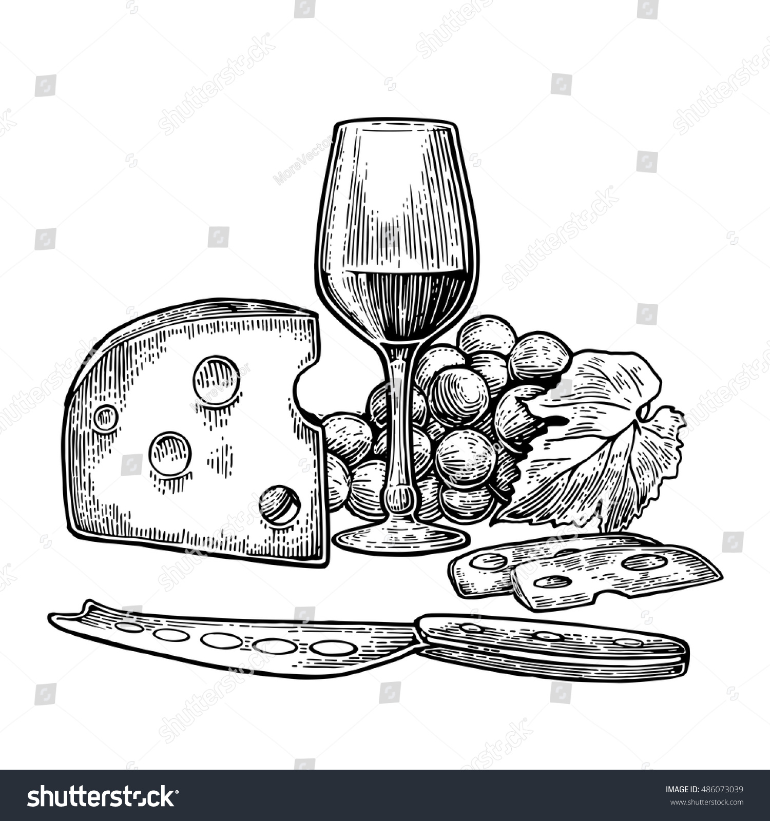 cheese wine set glass bunch grapes stock vector 486073039
