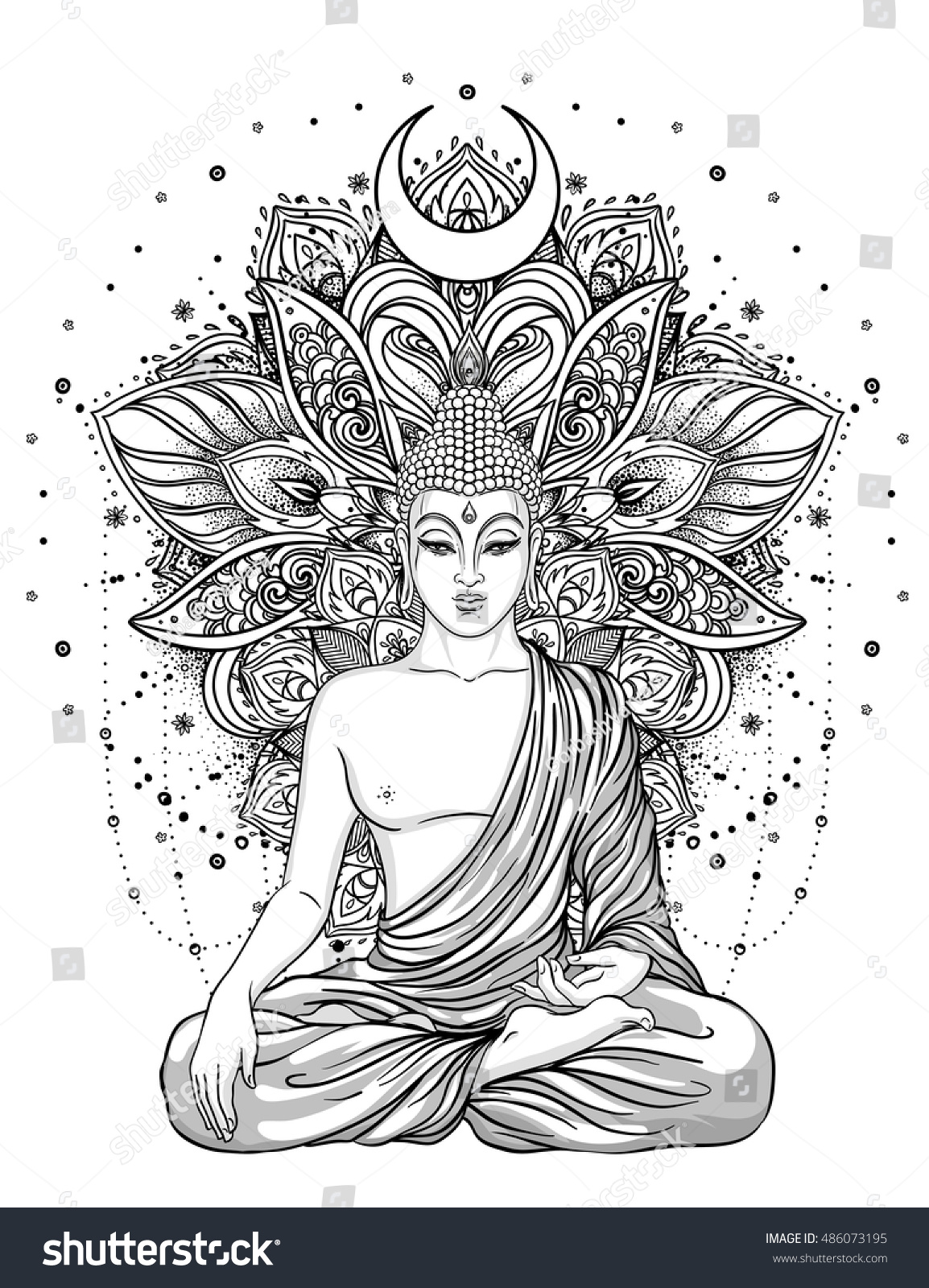 Sitting Buddha Statue Over Ornate Mandala Stock Vector 486073195 ...
