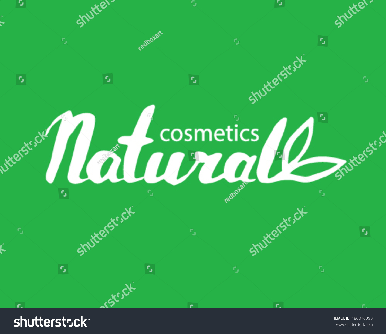 Vector Lettering Natural Cosmetics Logo Leafs Stock Vector