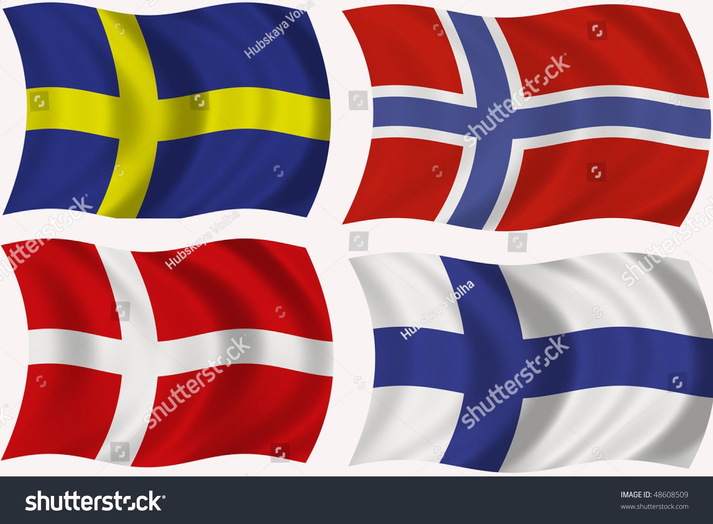 flag sweden denmark norway finland stock illustration 48608509