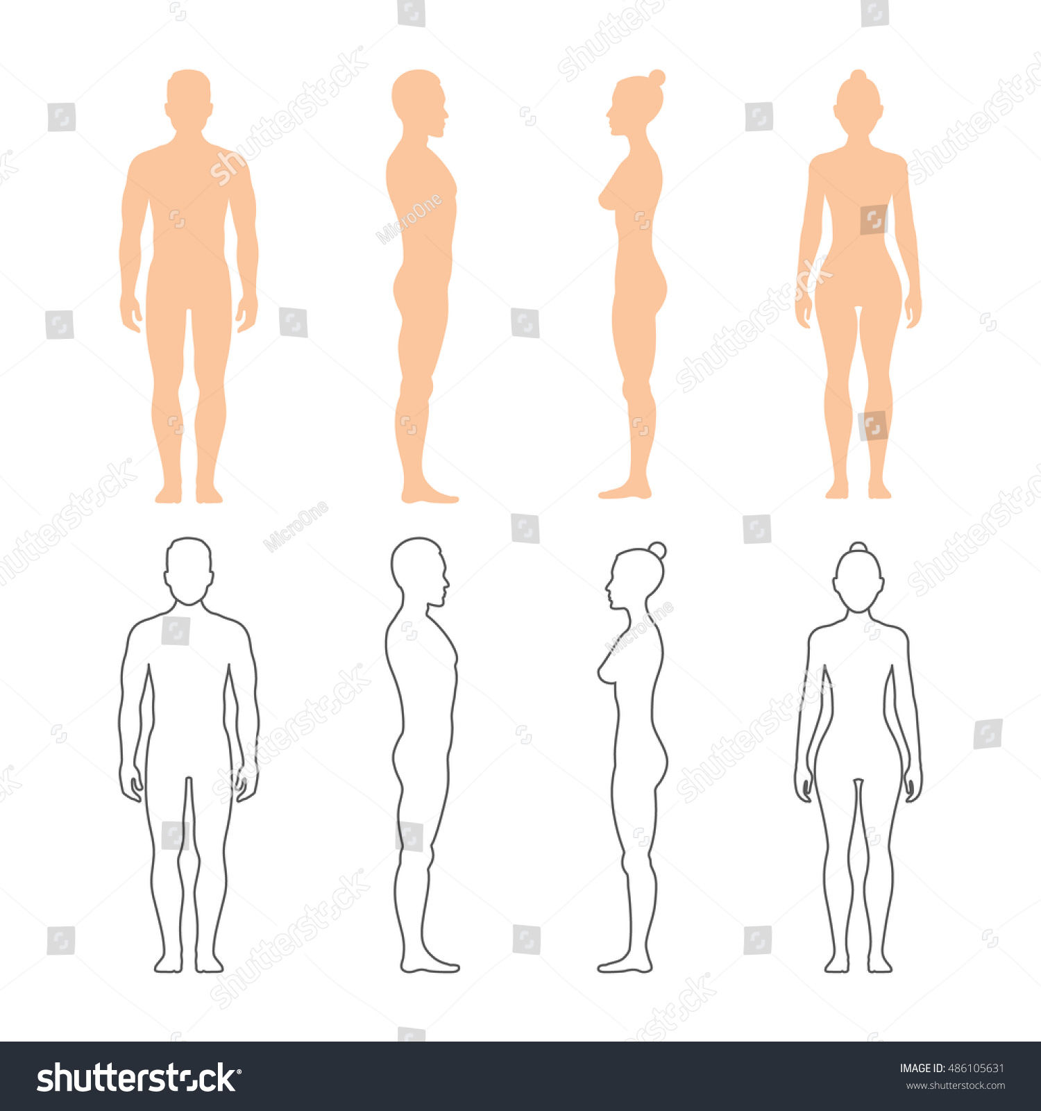 Male Female Human Vector Silhouettes - 242.5KB