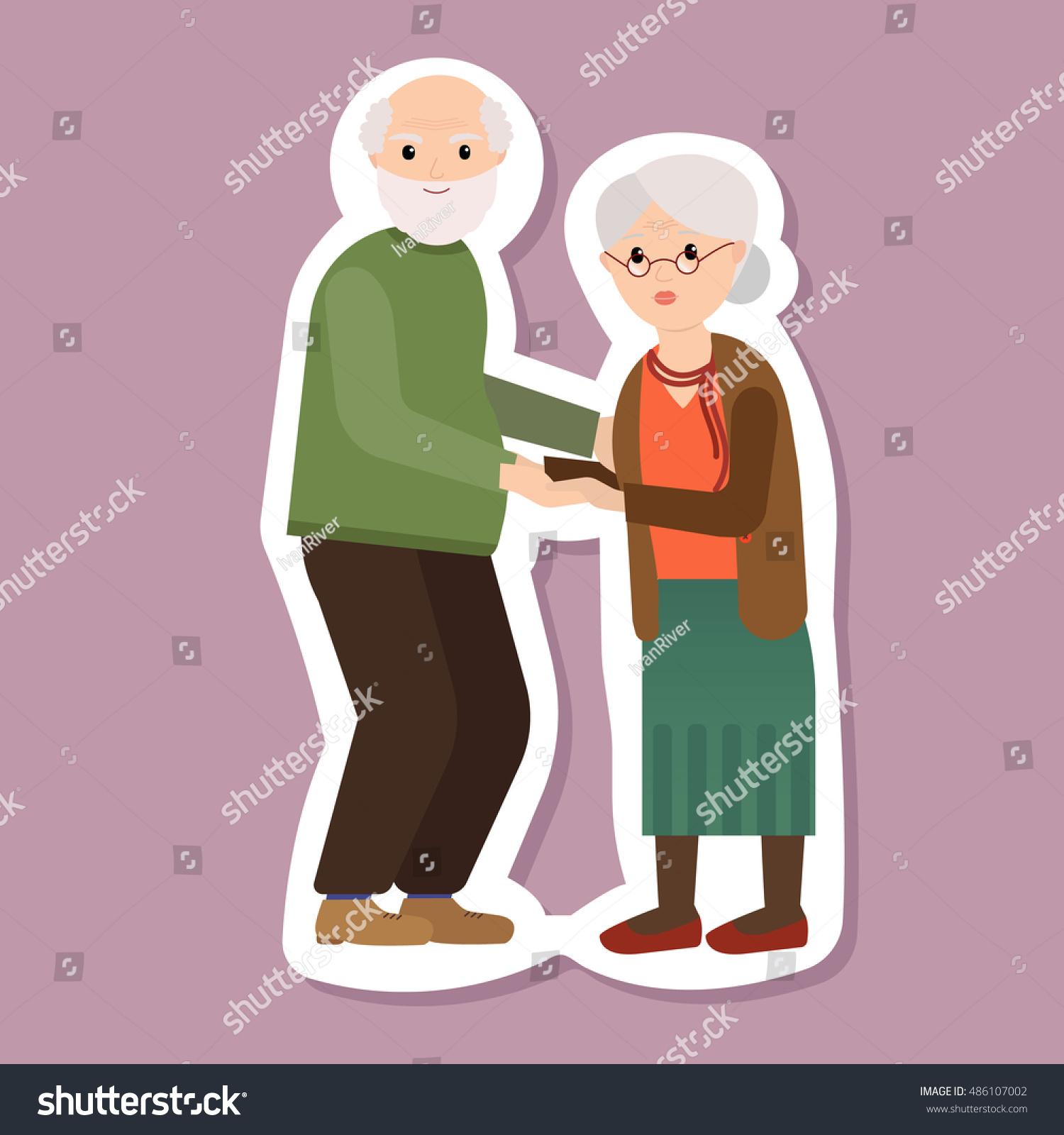 Portrait Happy Grandparents Day Design Vector Stock Vector 486107002