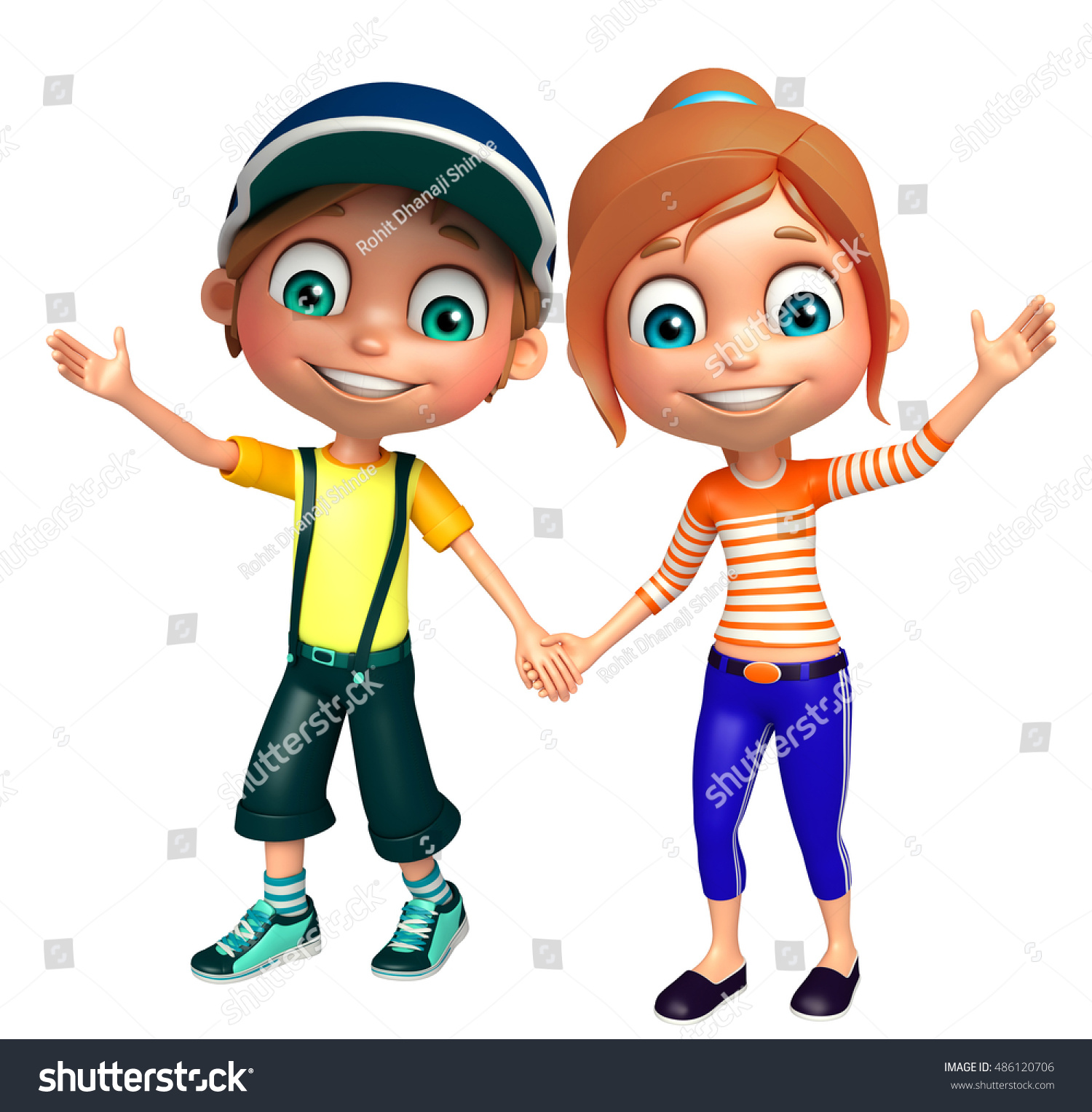 3D rendered illustration of Kid boy and girl with Funny pose