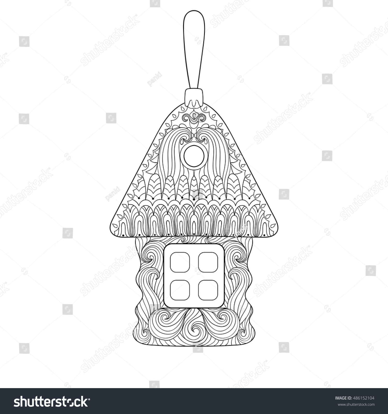 Christmas Tree Toy Shape House Zentangle Stock Vector 486152104 ...