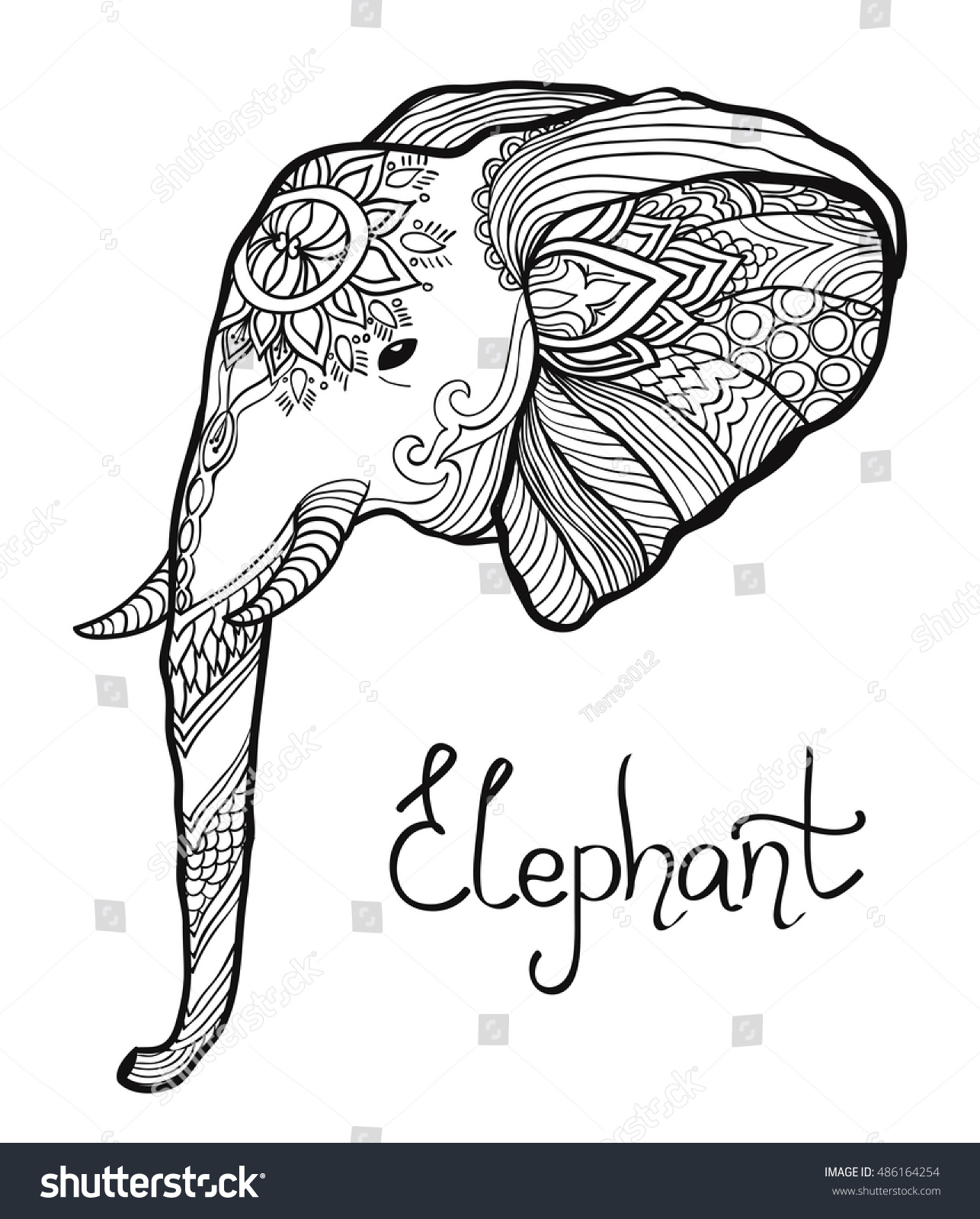 Elephant Head Hand Drawn Tangled Illustration Stock Vector 486164254 ...