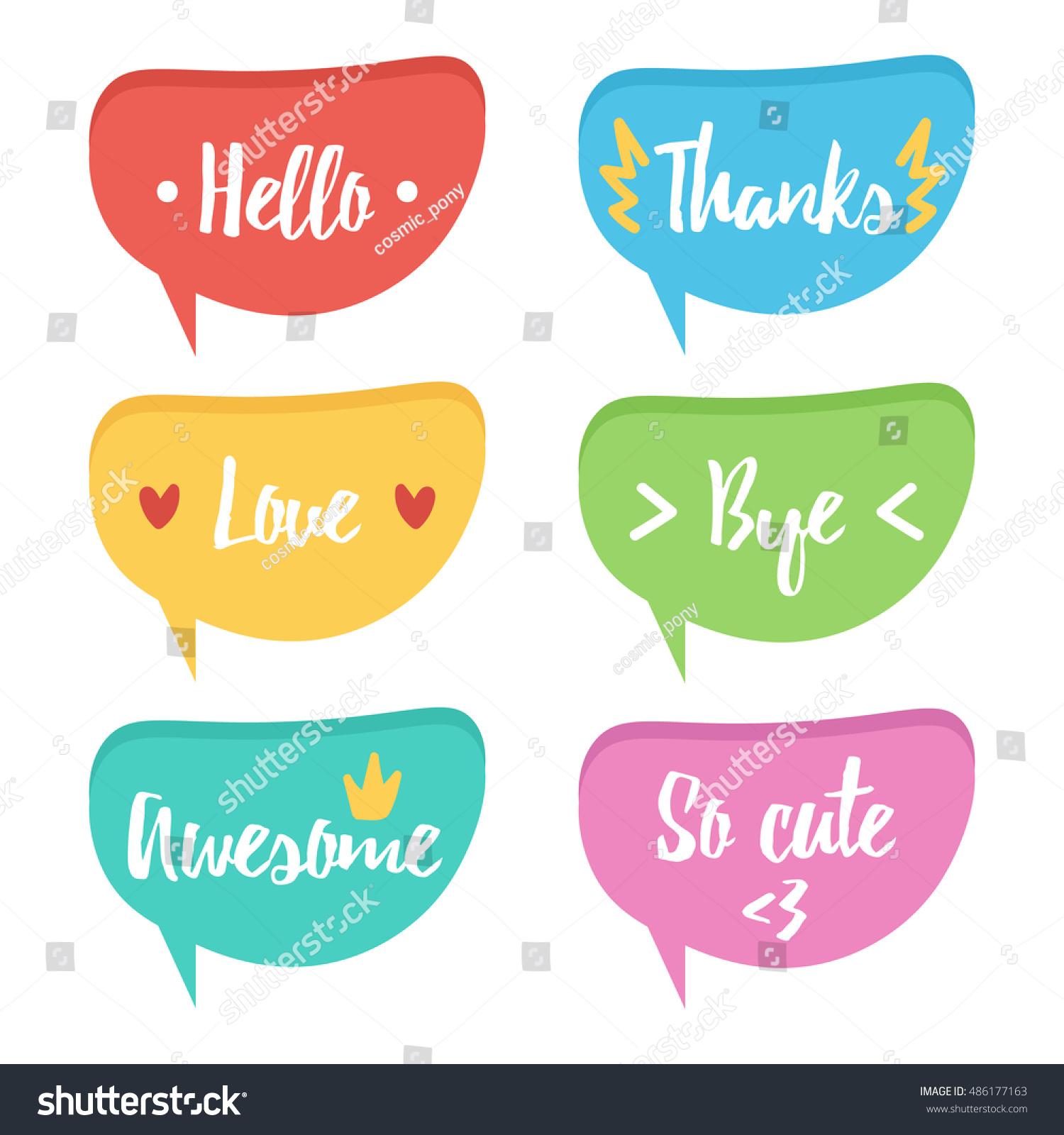 Cute Colorful Speech Bubble Set Collection Stock Vector