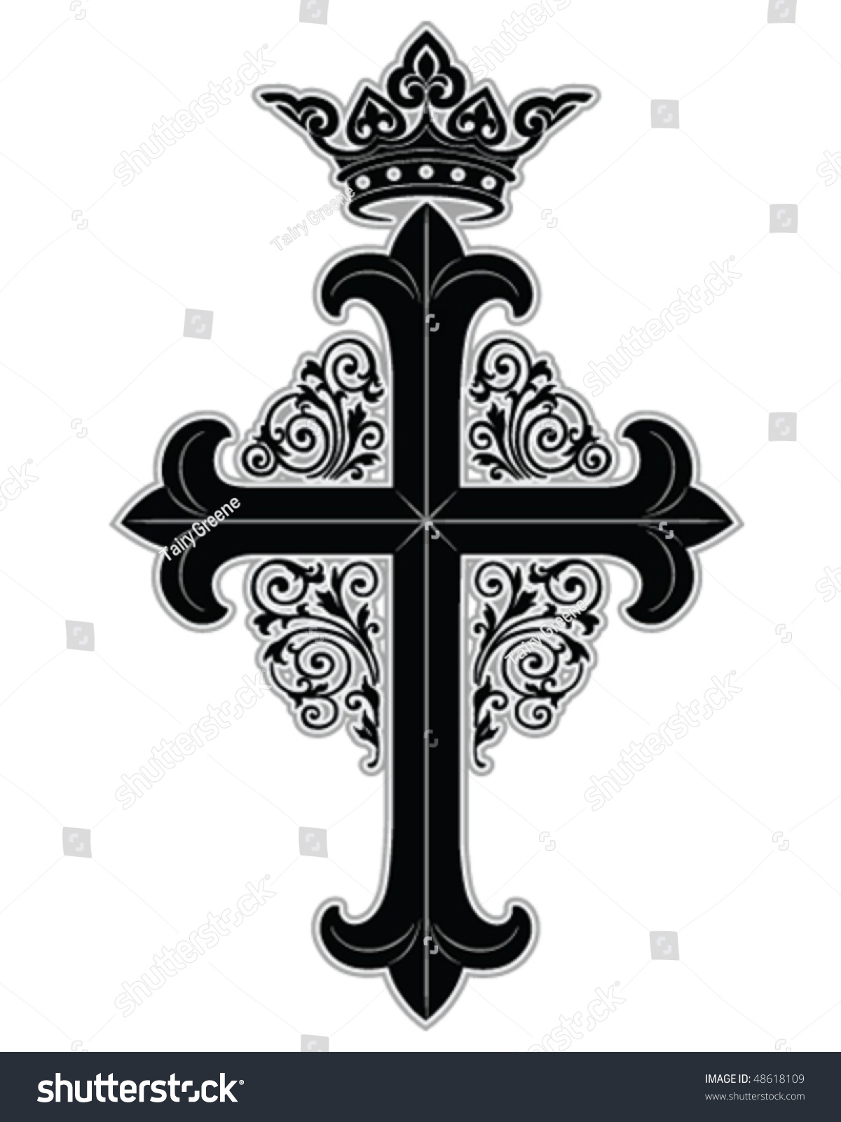 Cross Crown Ornate Boarder Stock Vector Royalty Free 48618109