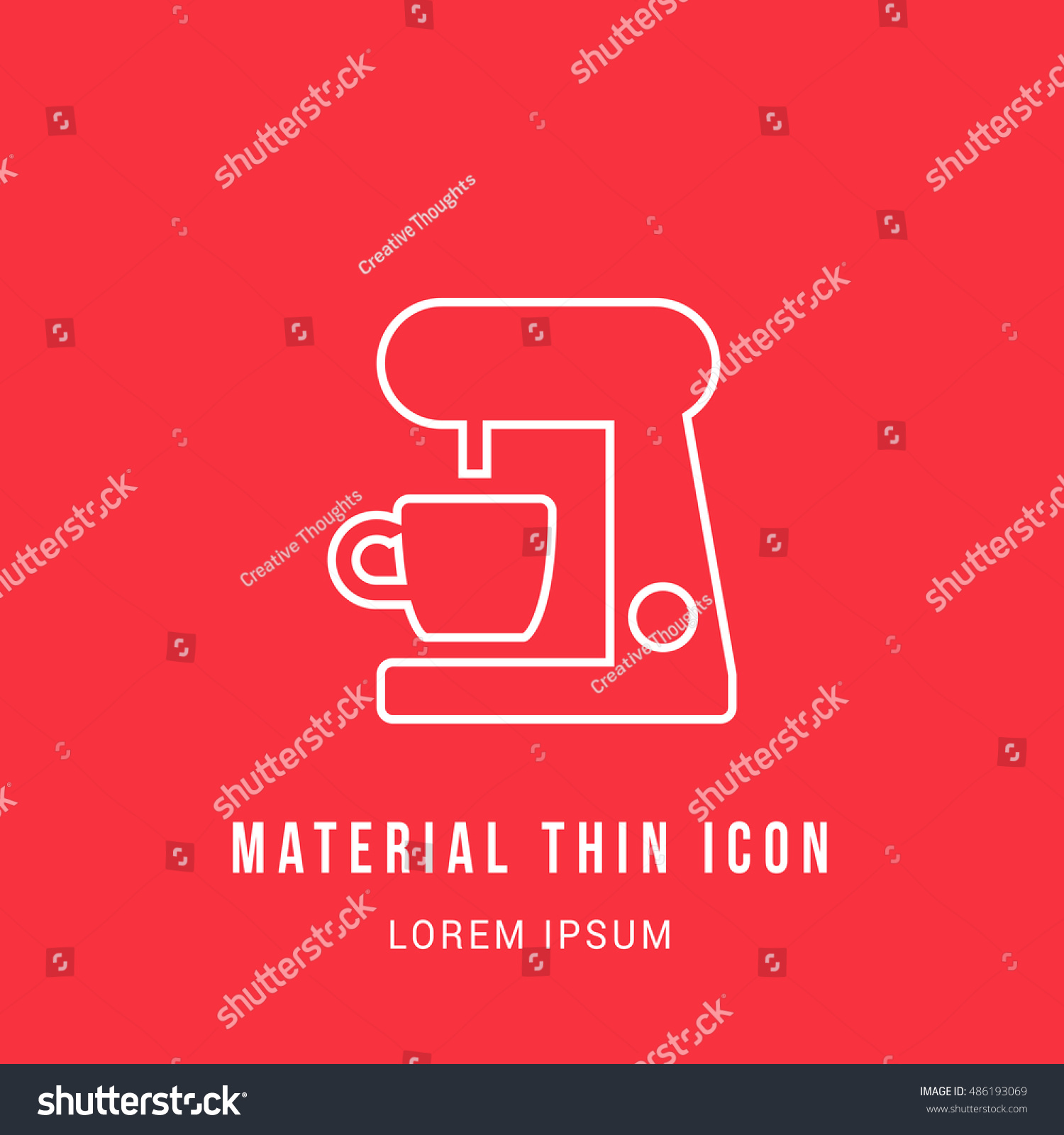 Coffee Maker Bright Red Material Designed Stock Vector (Royalty Free