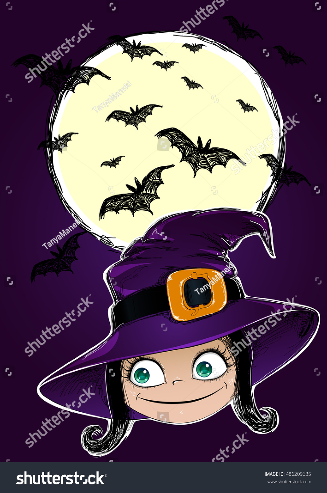 Halloween Card Witch Bats Moon This Stock Illustration 486209635 ...