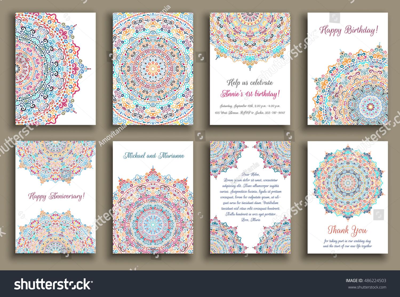 Vector cards set wedding invitation birthday em vetor stock wedding invitation birthday greeting thank you note anniversary stopboris Images