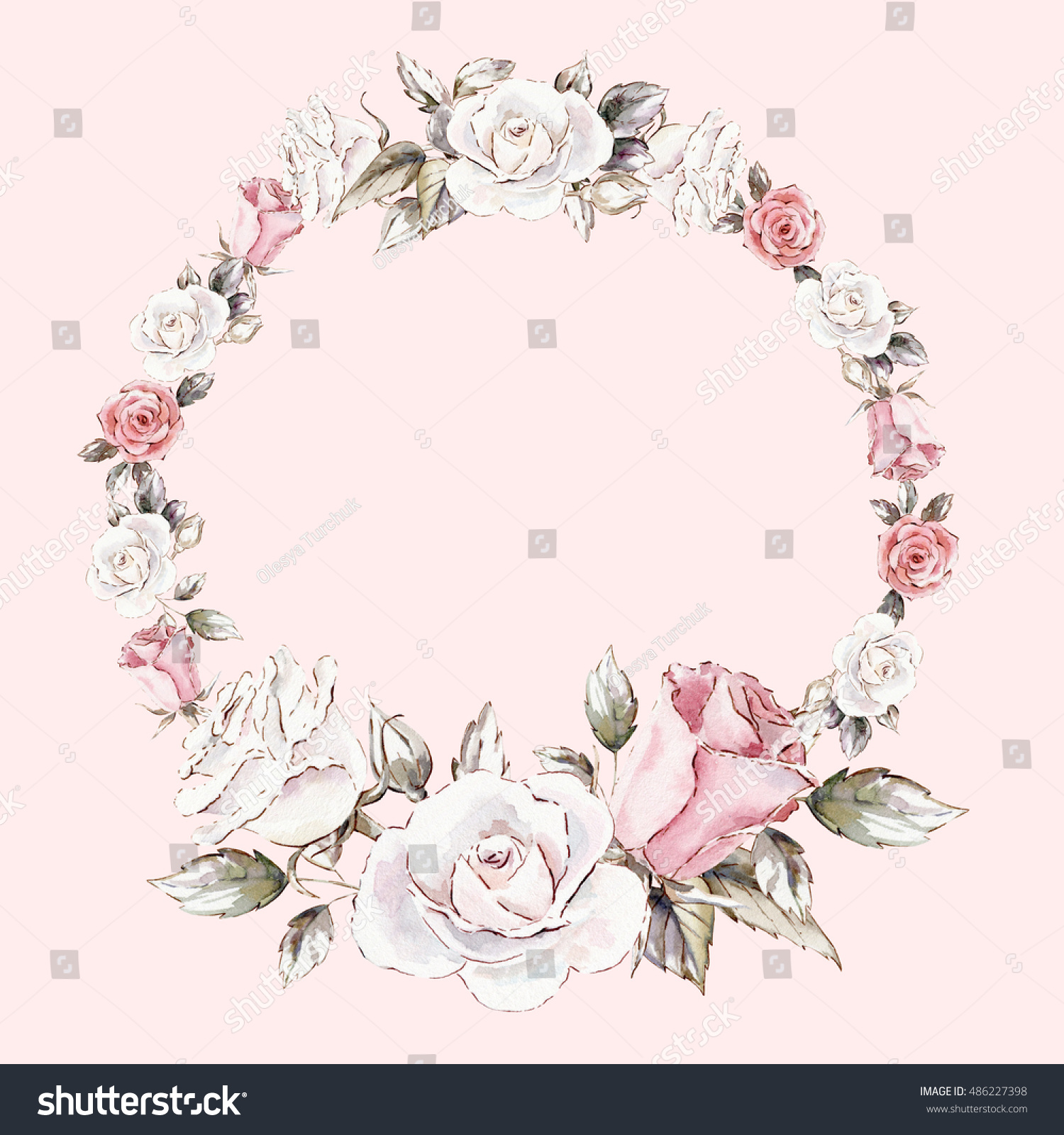 Watercolor hand drawn flower wreath for design artistic isolated - Beautiful Hand Painted Watercolor Wreath Mockup Stock