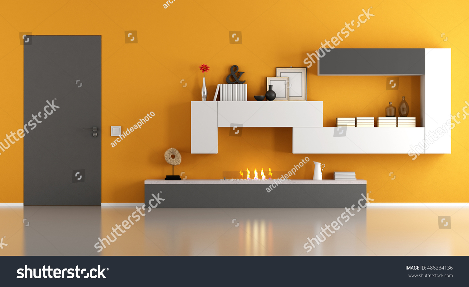 modern living room ecological fireplace closed stock illustration