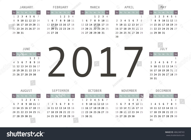 2017 Pocket Calendar Template Calendar Grid Stock Vector 486248743