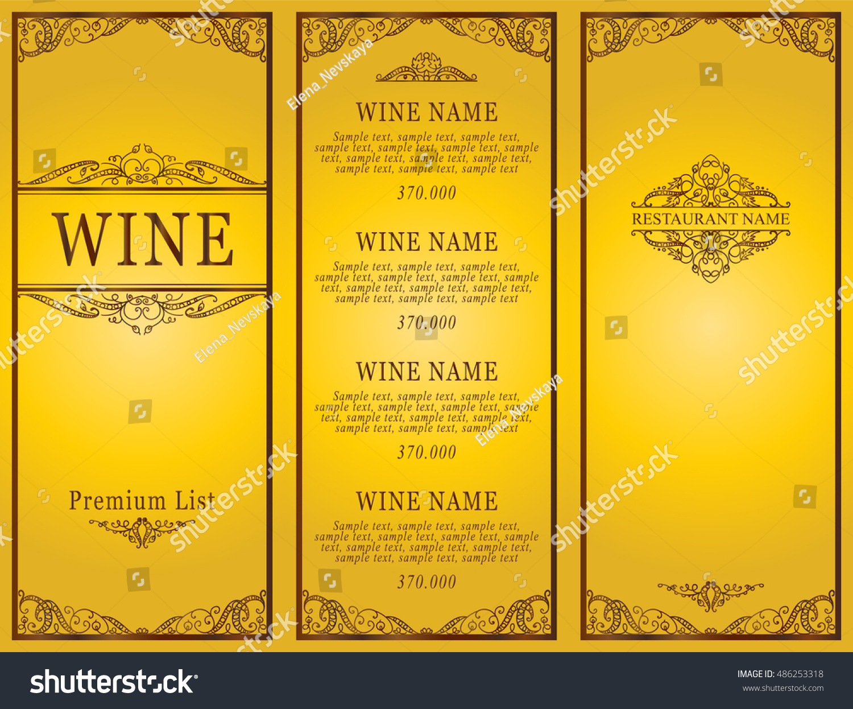Vintage design restaurant menu wine list stock vector