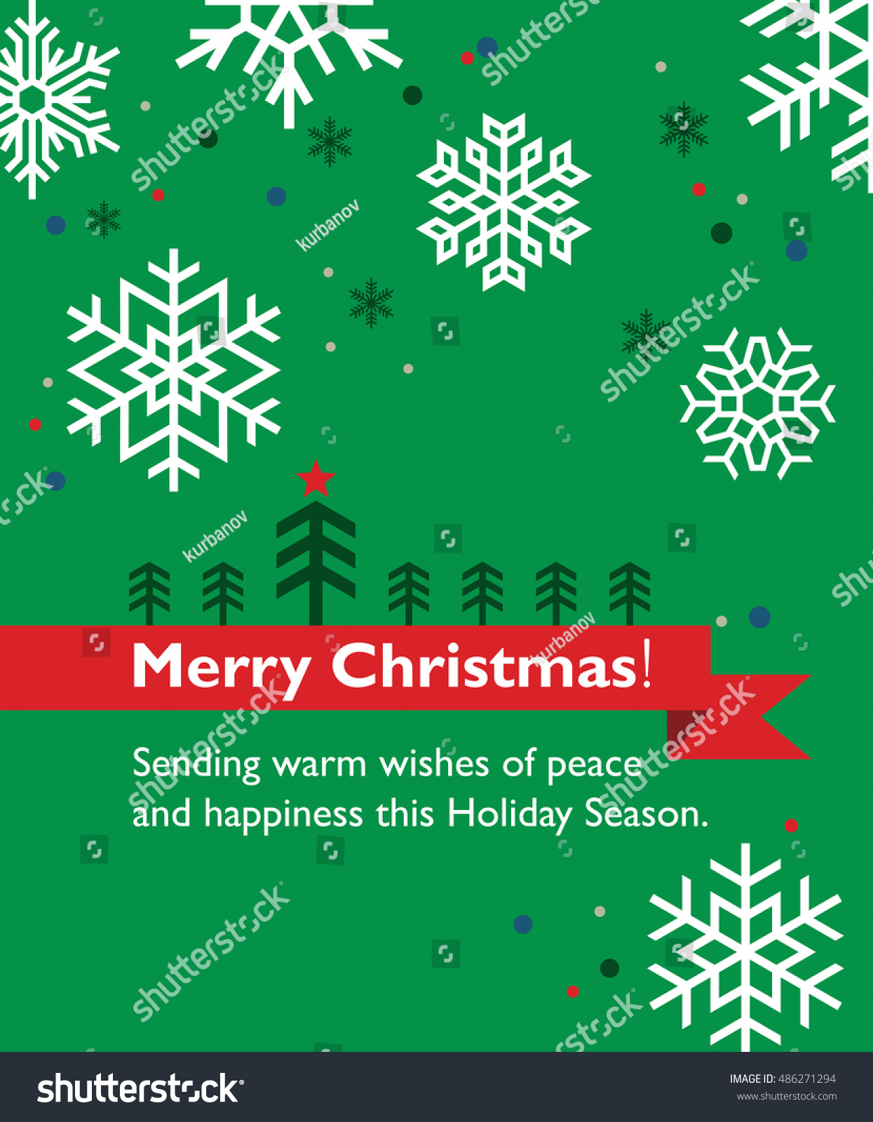 Simple Vector Christmas Greeting Card Tree Stock Vector Royalty