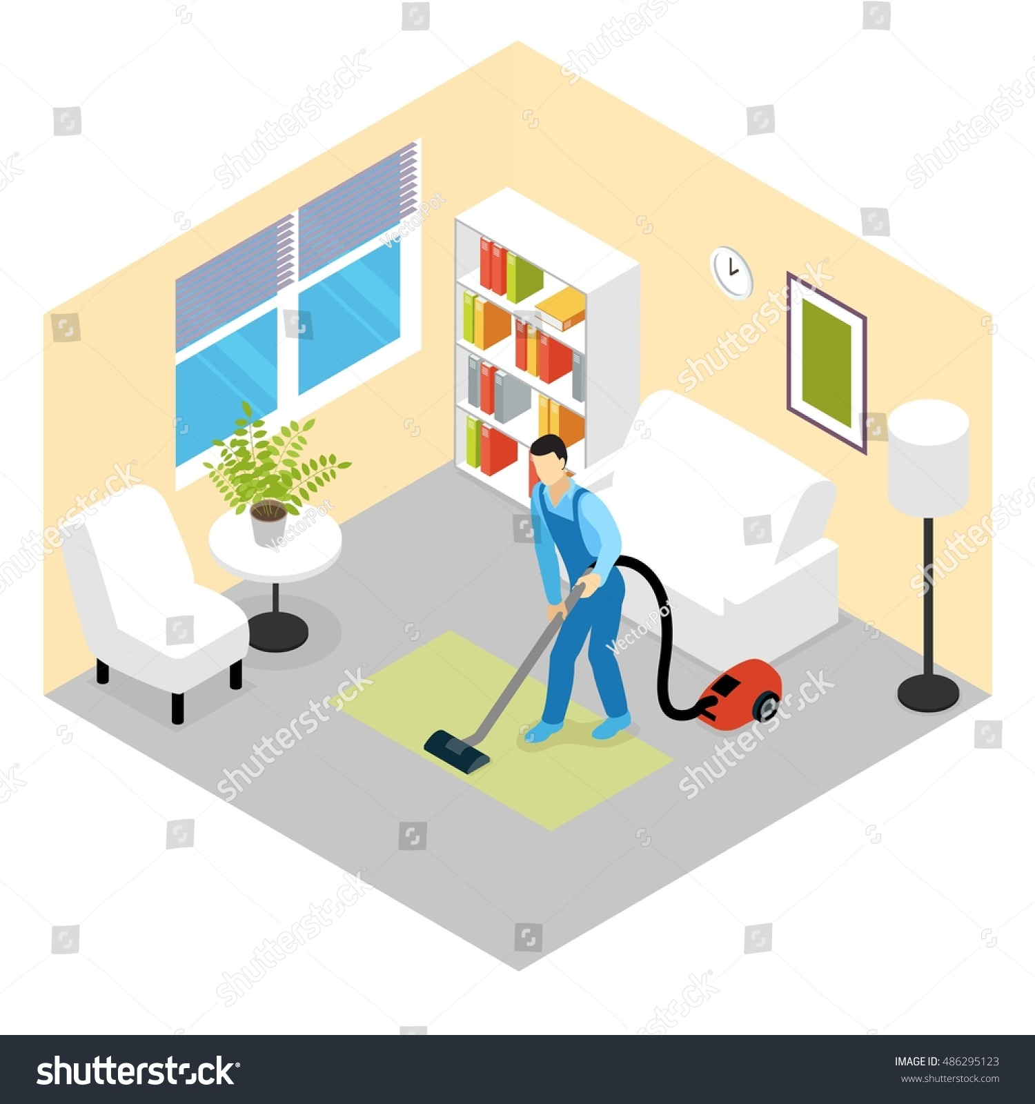 Cleaning Service Isometric Scene Worker Vacuuming Stock