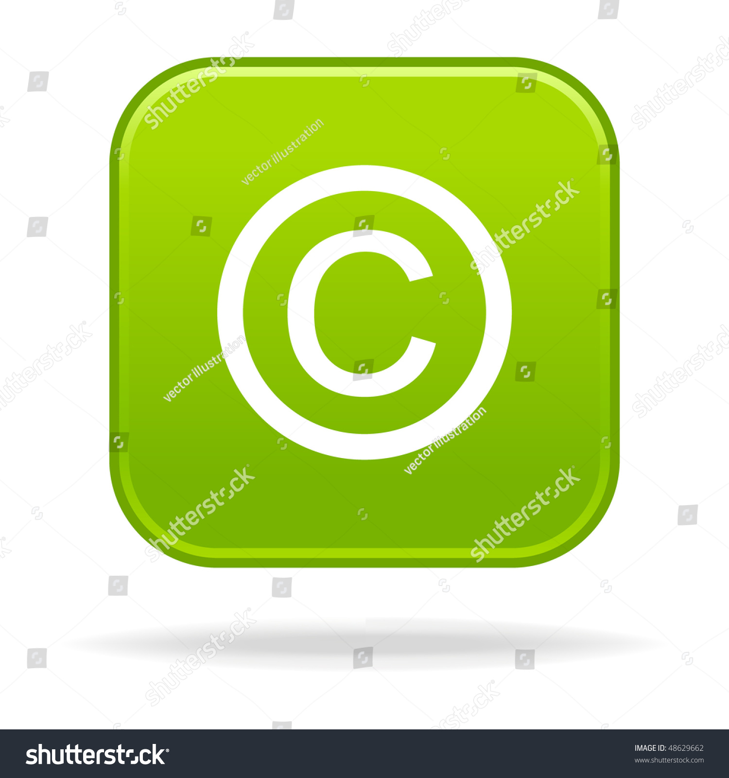 Matted Green Rounded Squares Buttons With Copyright Symbol And